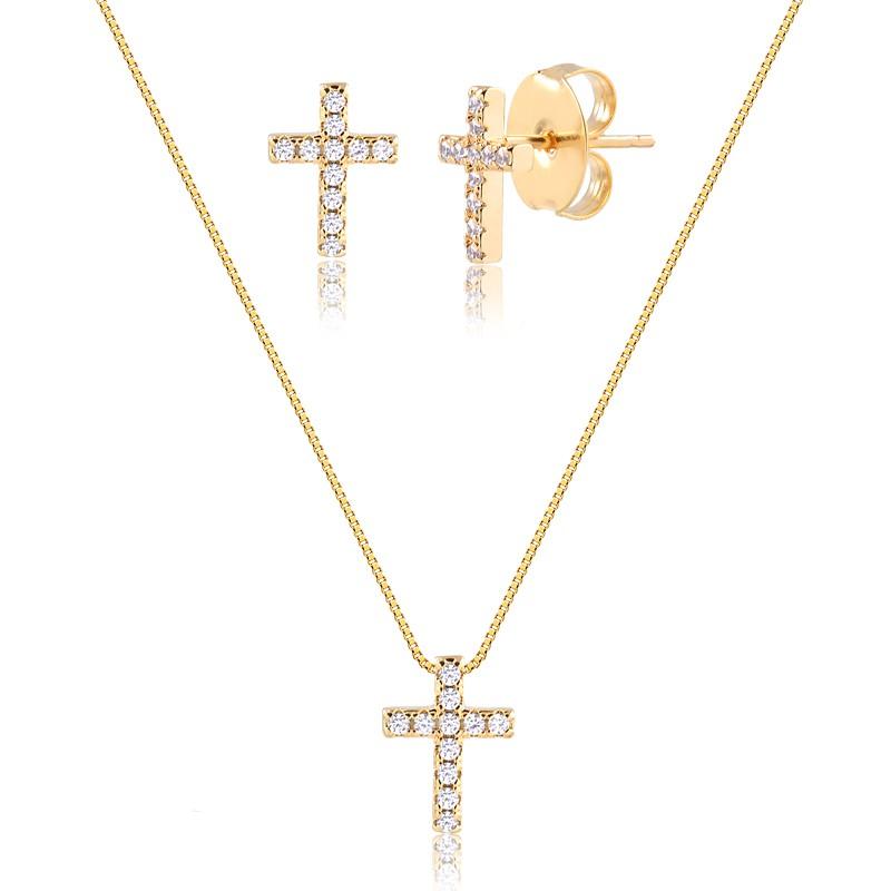 Conjunto de colar e brinco crucifixo cravejado em zircônias em ouro18k