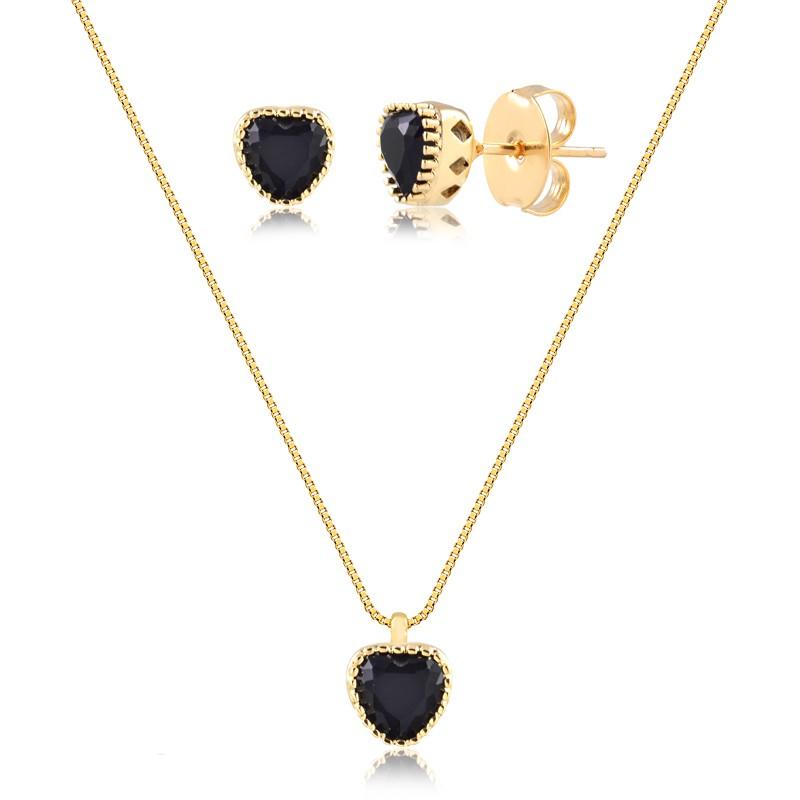 Conjunto de colar e brinco de coração preto com pedra natural banhado em ouro18k