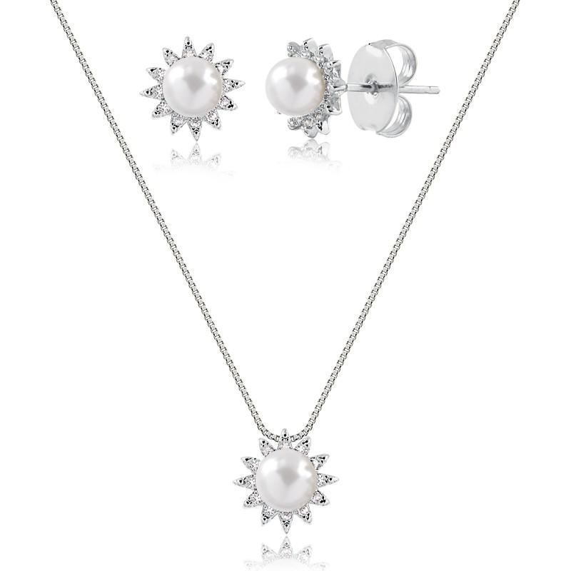 Conjunto de colar e brinco de pérolas com zircônias banhado em ródio branco