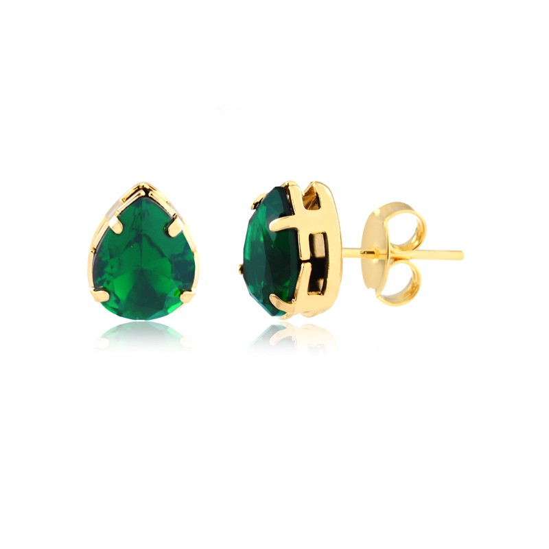 Conjunto de colar e brinco gota verde banhado em ouro 18k
