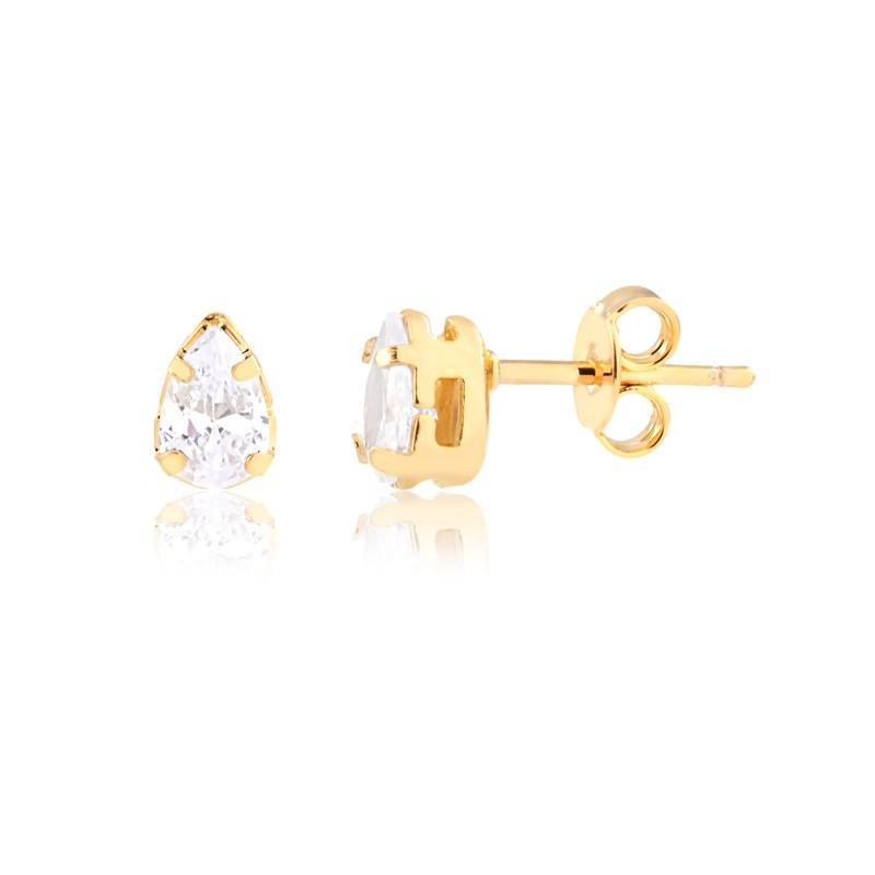 Conjunto de colar e brinco ponto de luz gota banhado em ouro 18k