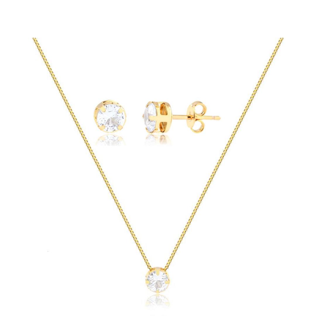 Conjunto de colar e brinco redondo ponto de luz banhado em ouro 18k