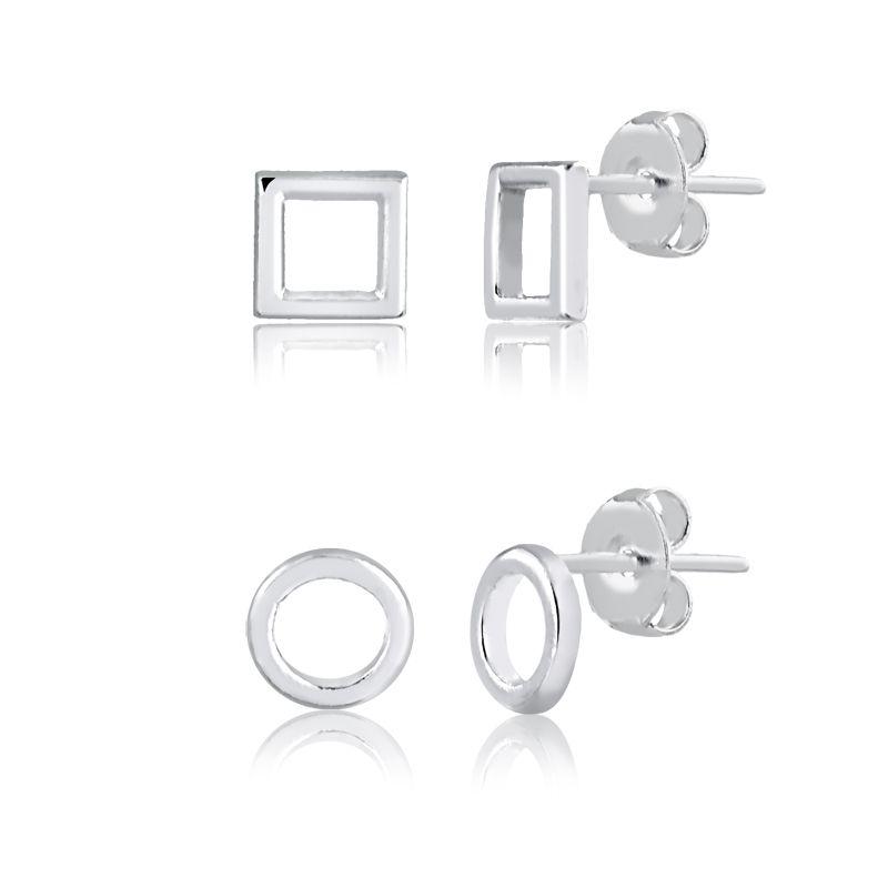 Kit de Brincos formas geométricas em prata 925