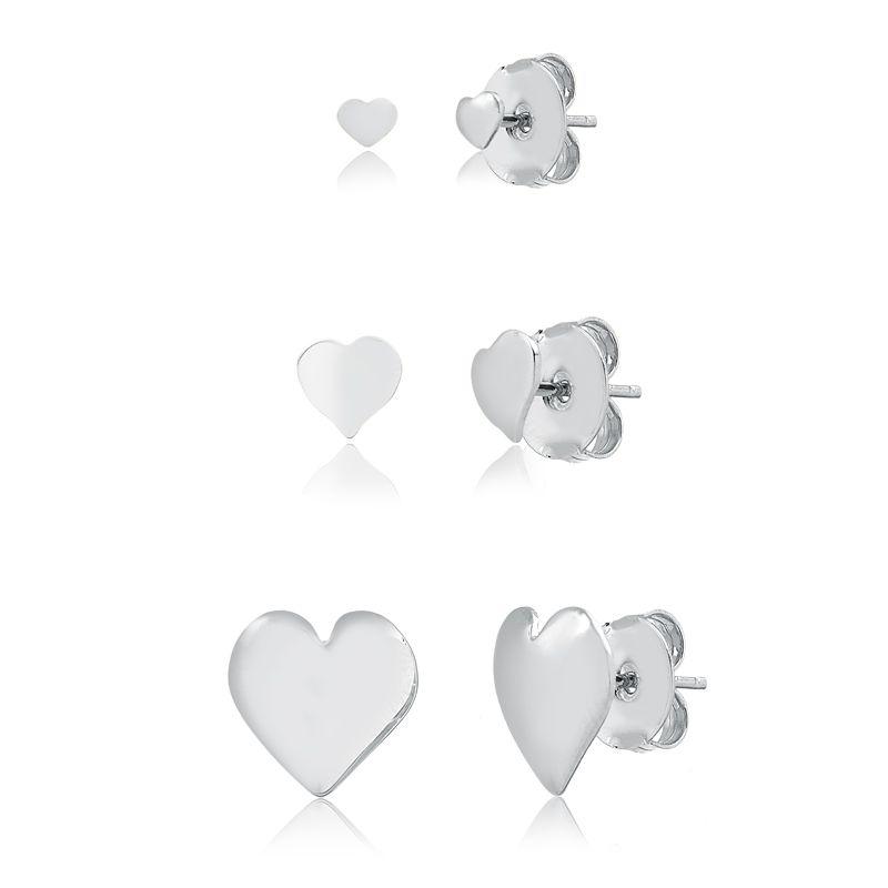 Kit de Brincos Trio de Corações banhado em ródio branco
