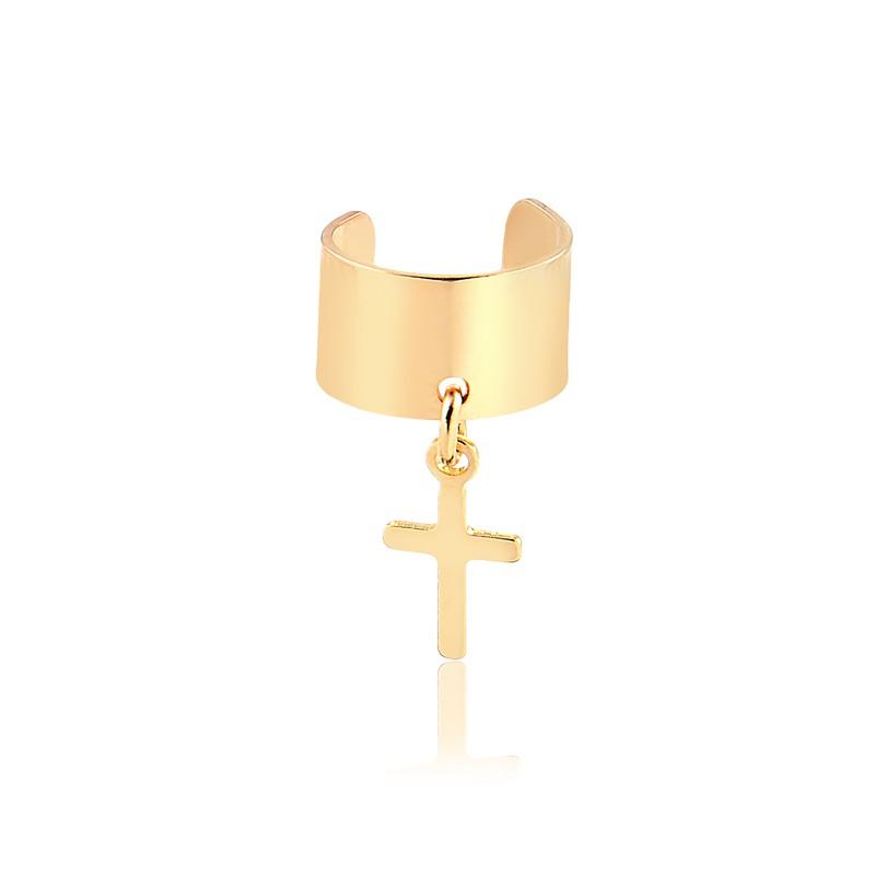 Piercing fake com pingente de crucifixo banhado em ouro 18K