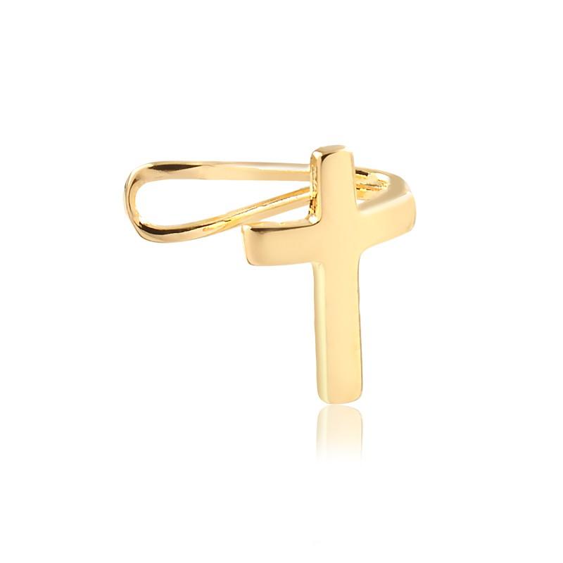 Piercing Fake em Crucifixo Banhado em Ouro 18K