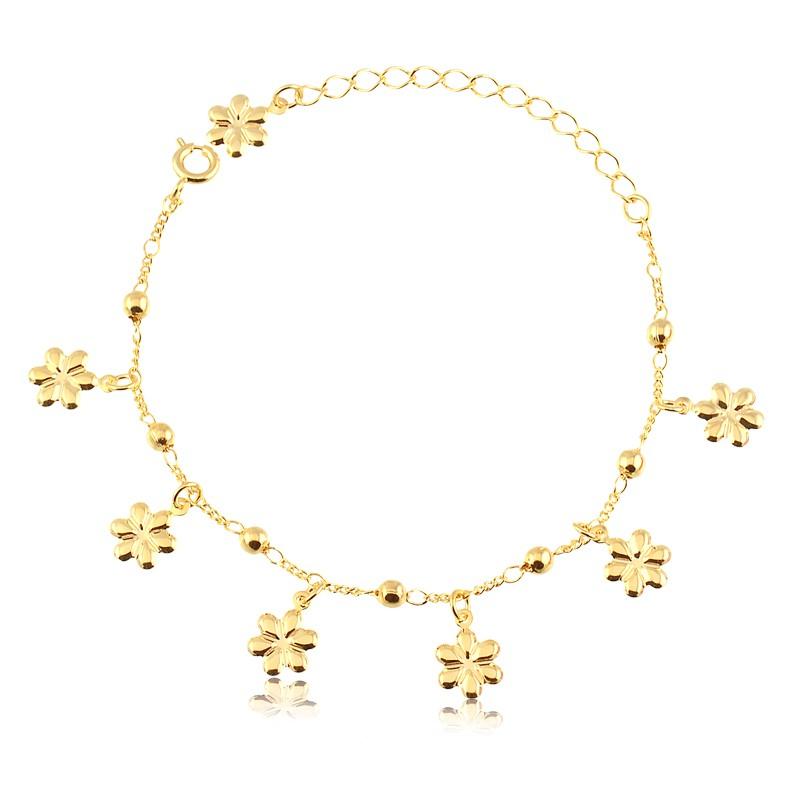 Pulseira com pingentes de flor banhado em ouro 18k