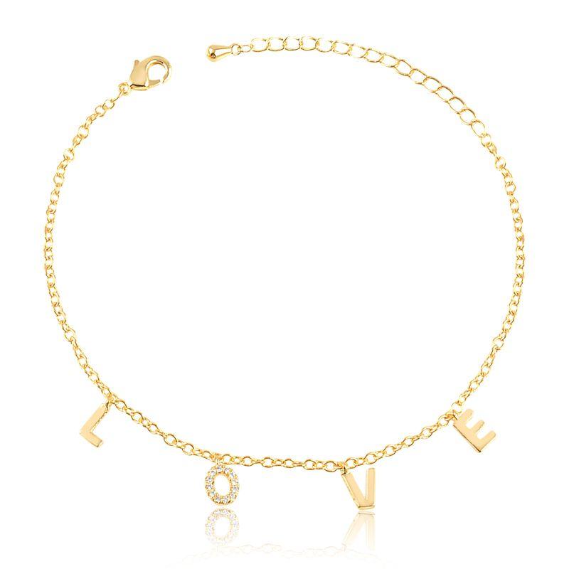 Pulseira love cravejada com micro zircônias banhada em ouro 18k