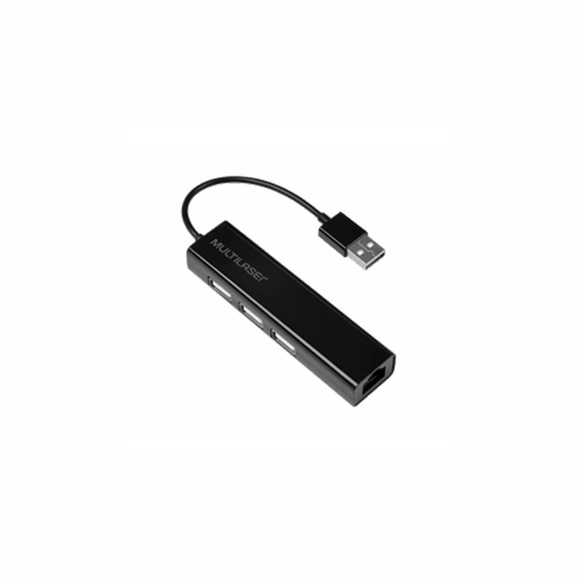 CONVERSOR HUB USB 2.0 3P +RJ45 FEMEA PRETO AC304 MULTILASER