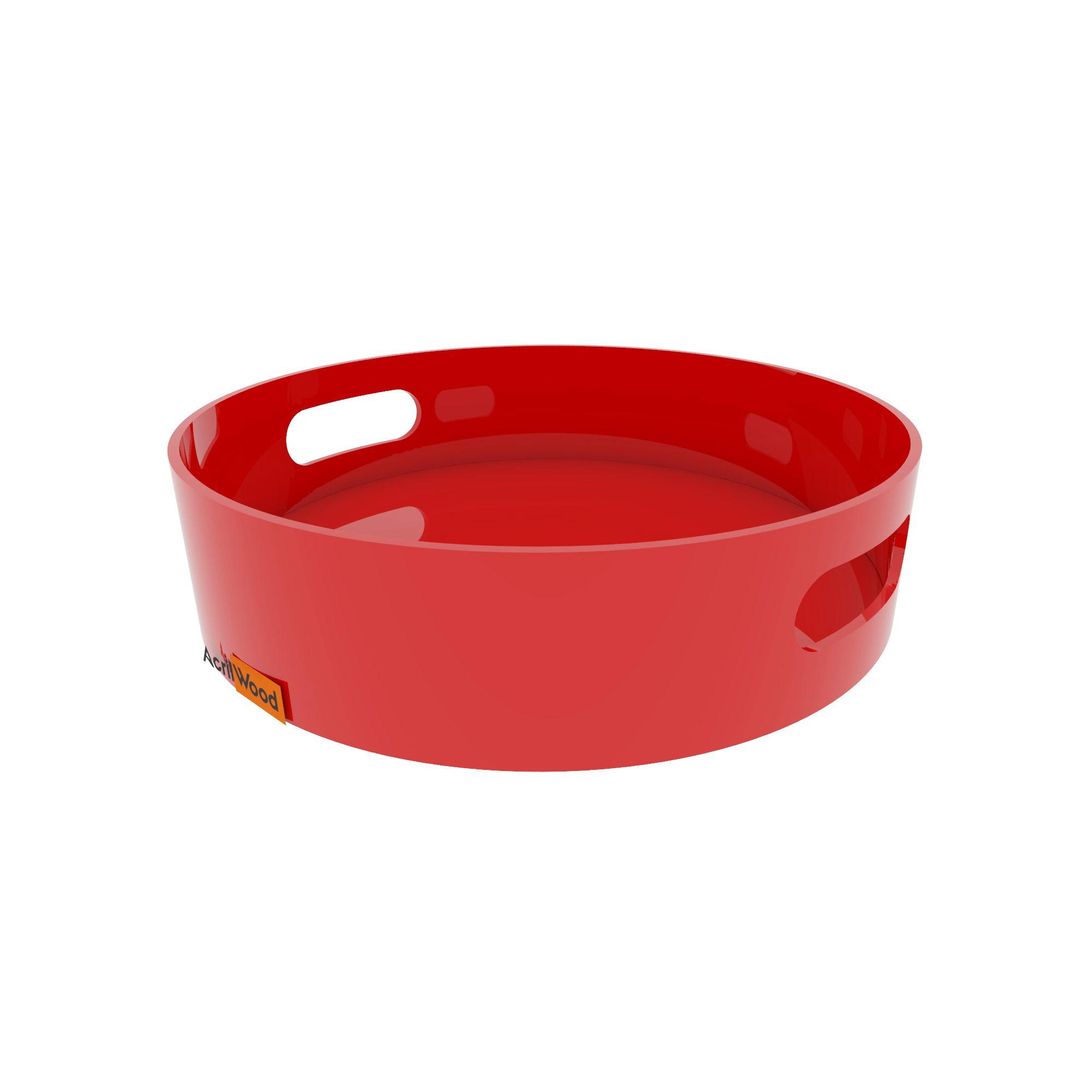 Bandeja Redonda Em Acrílico Colorido Grande 30x30x5cm