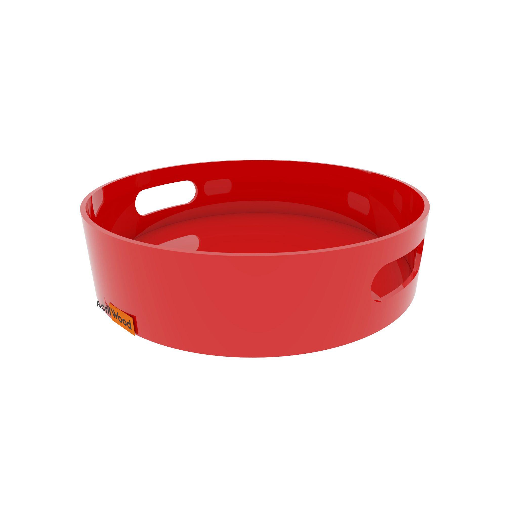 Bandeja Redonda Em Acrílico Colorido Pequena 20x20x5cm