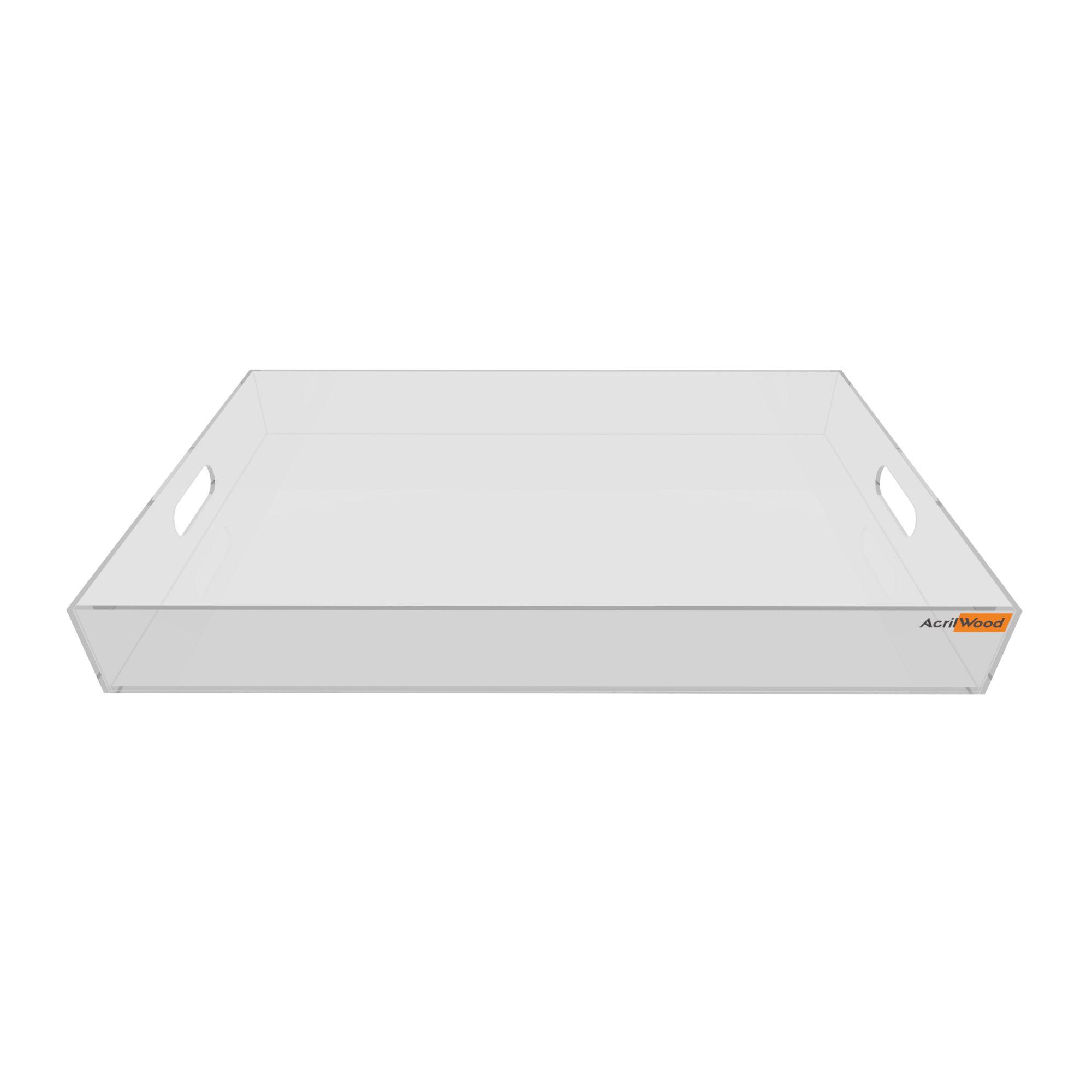 Bandeja Retangular Em Acrílico Cristal Grande 40x25x5cm