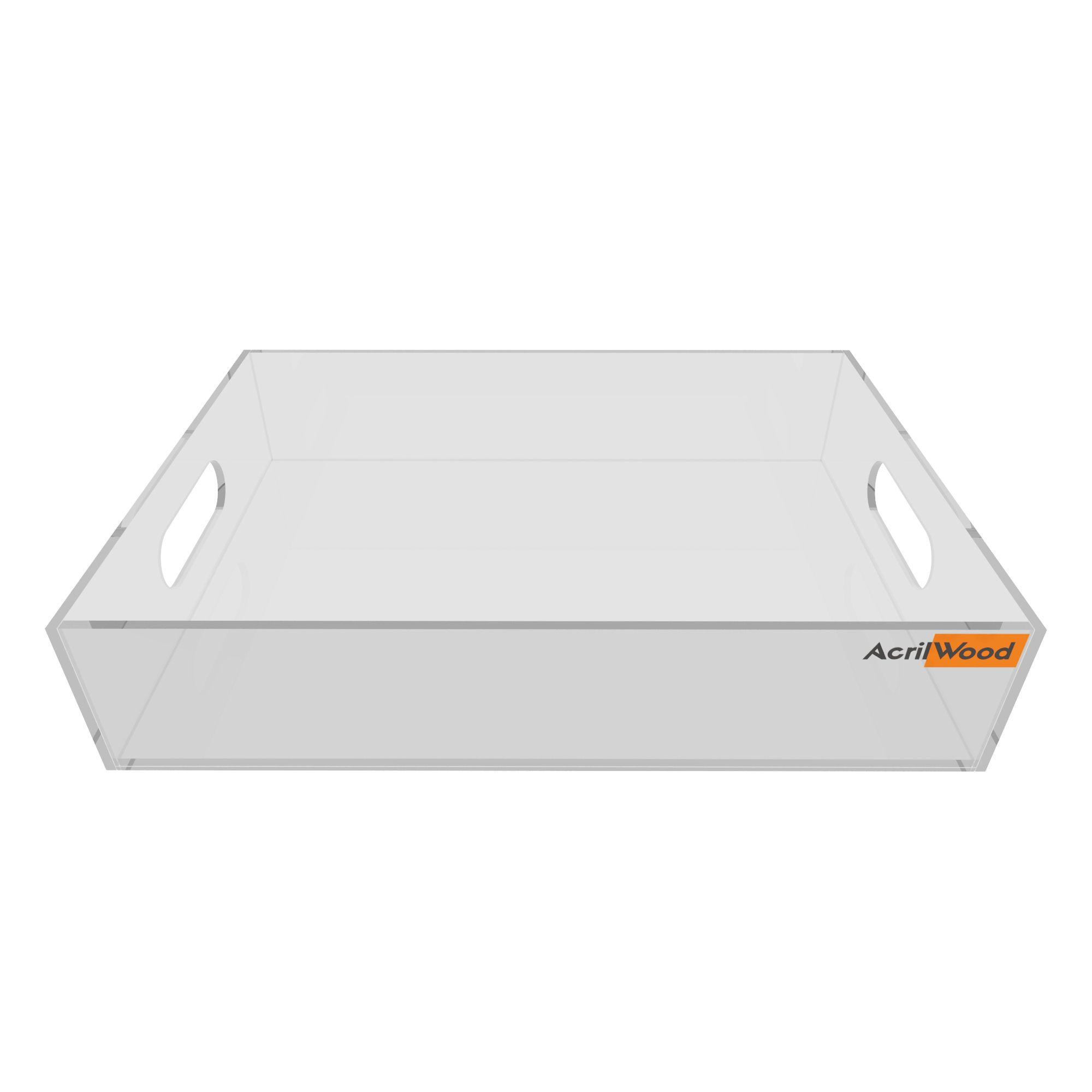Bandeja Retangular Em Acrílico Cristal Pequena 25x16x5cm