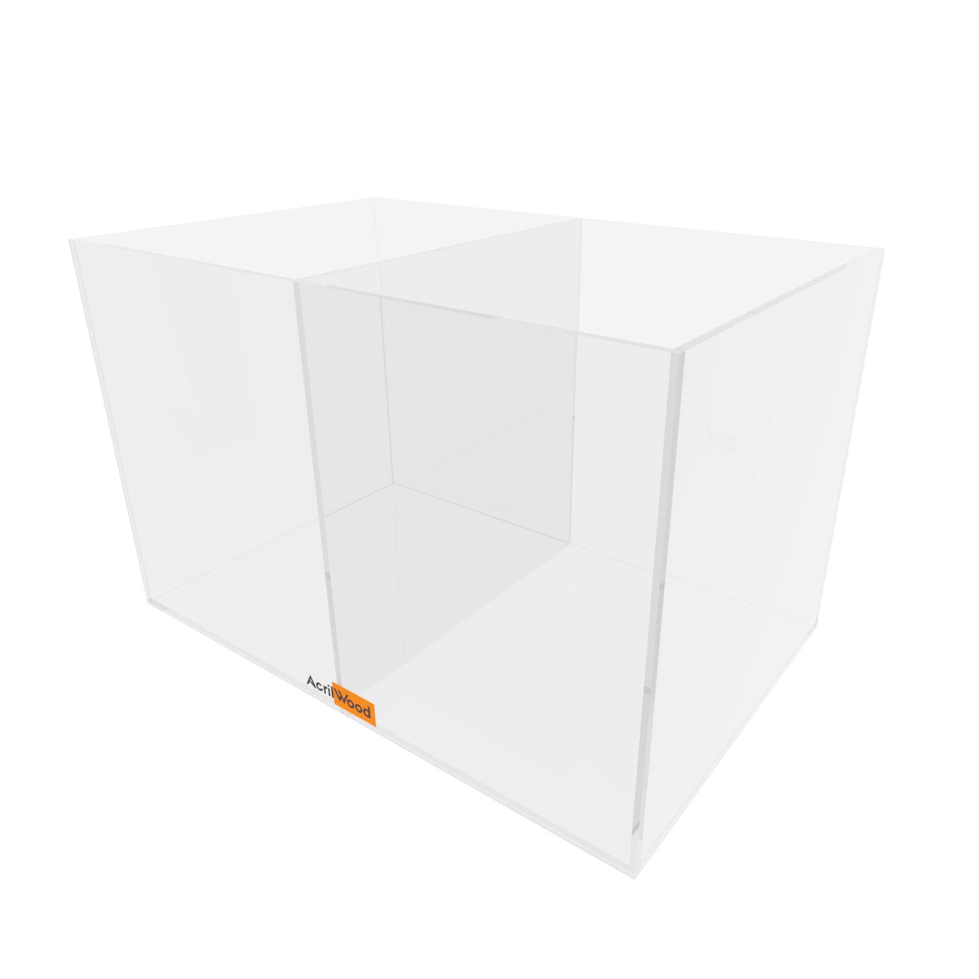Caixa Retangular Com Divisória Em Acrílico 25x16x16cm
