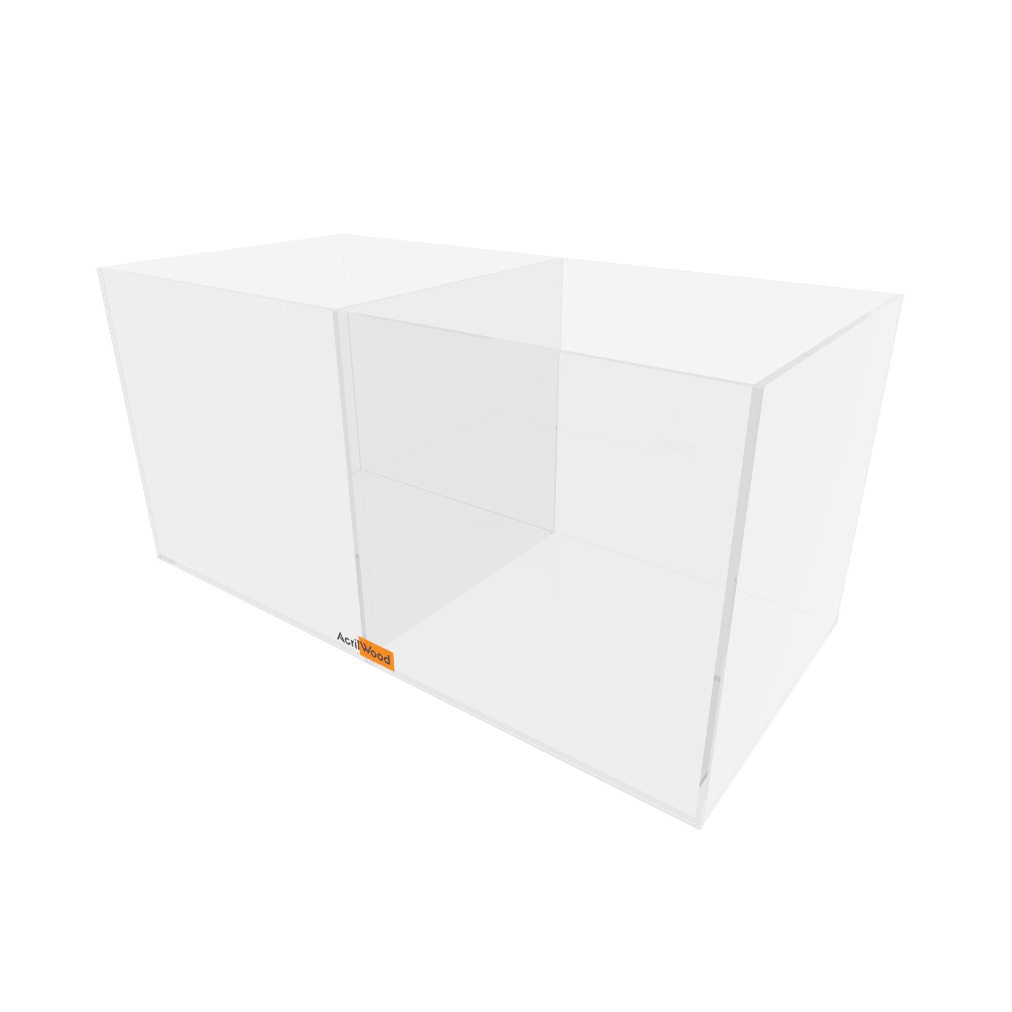 Caixa Retangular Com Divisória Em Acrílico 33x16x16cm