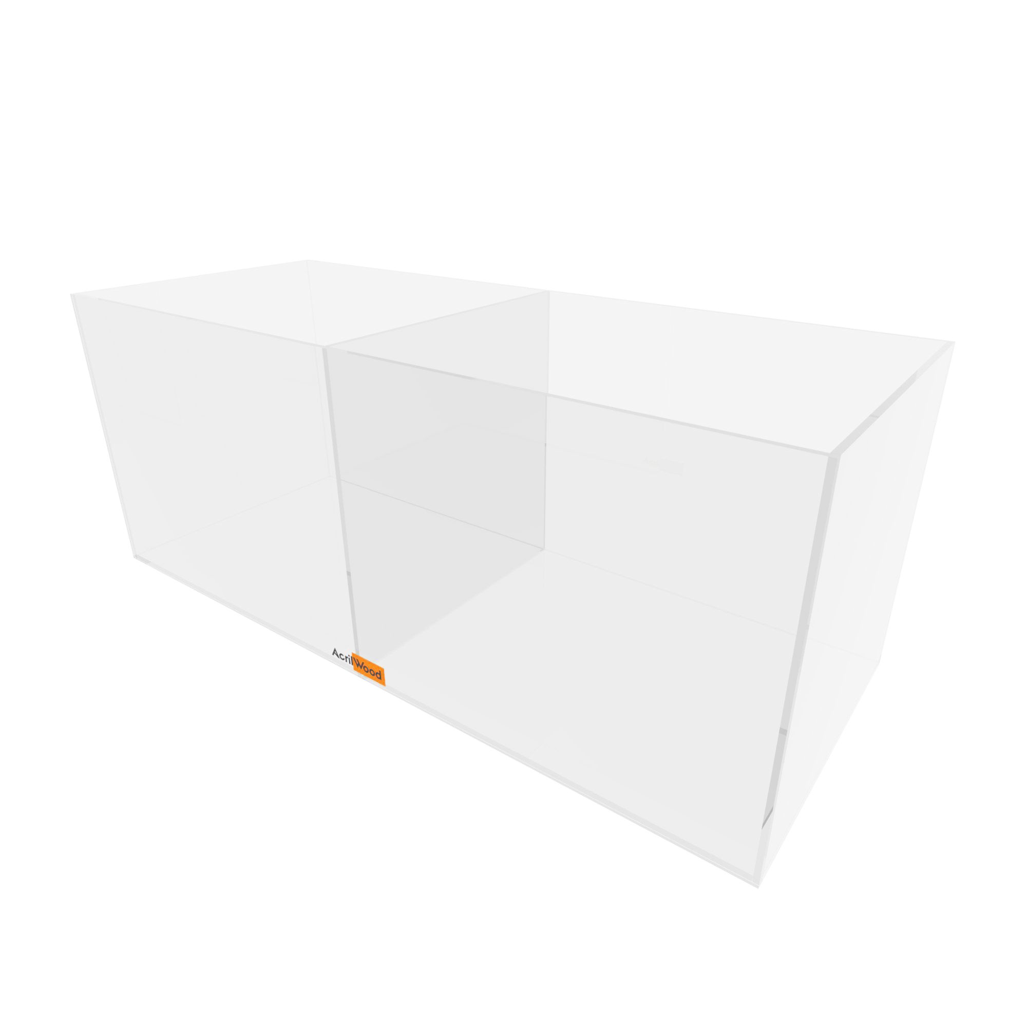 Caixa Retangular Com Divisória Em Acrílico 40x16x16cm