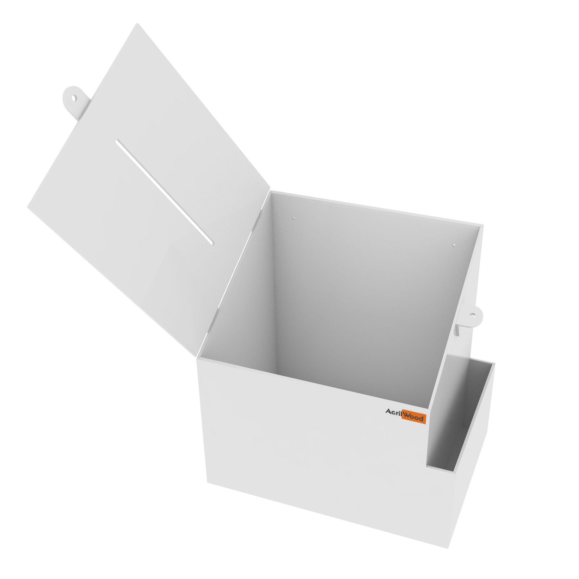 Caixa Sugestão Em Acrílico Branco Grande - 25x20x30cm