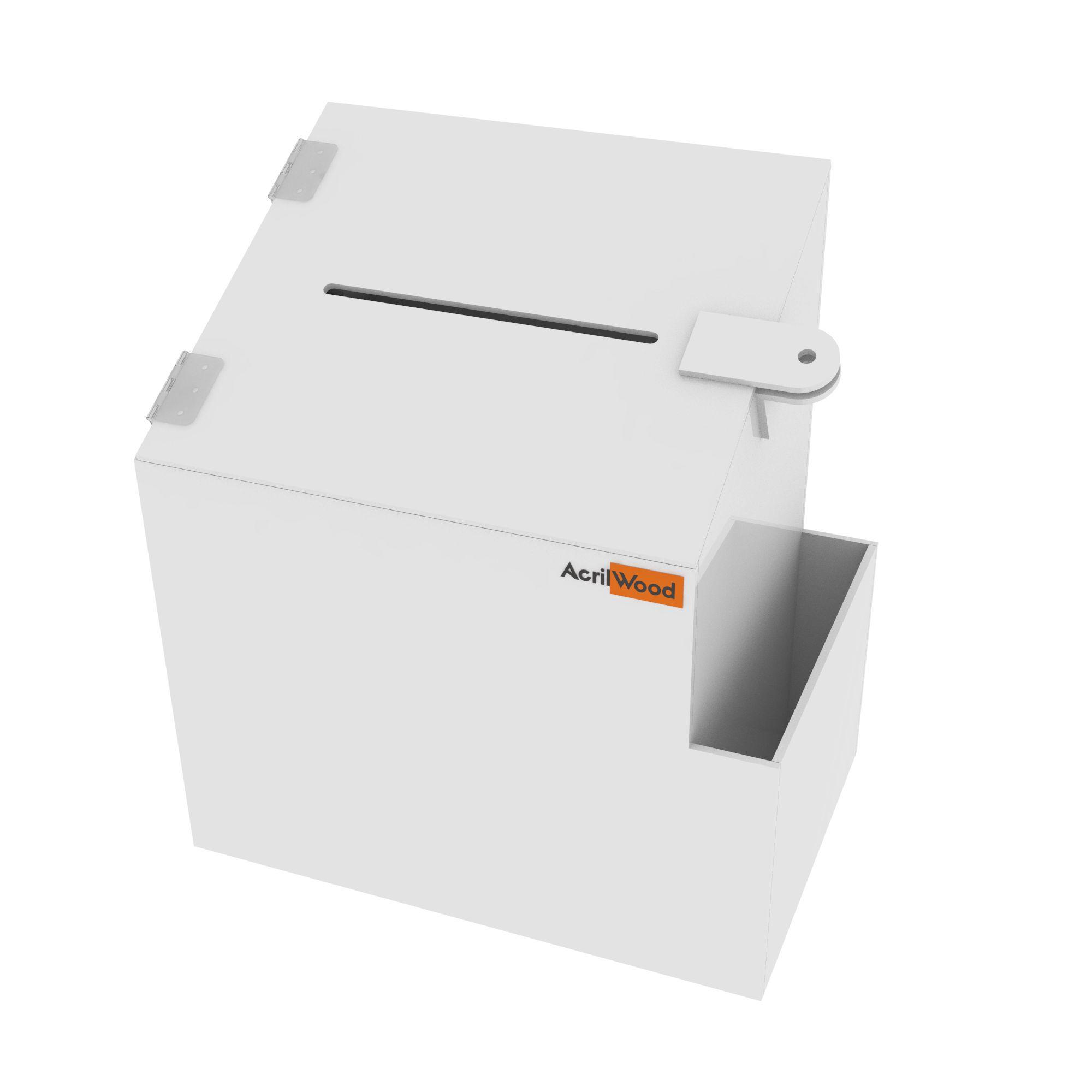 Caixa Sugestão Em Acrílico Branco Média - 20x15x25cm