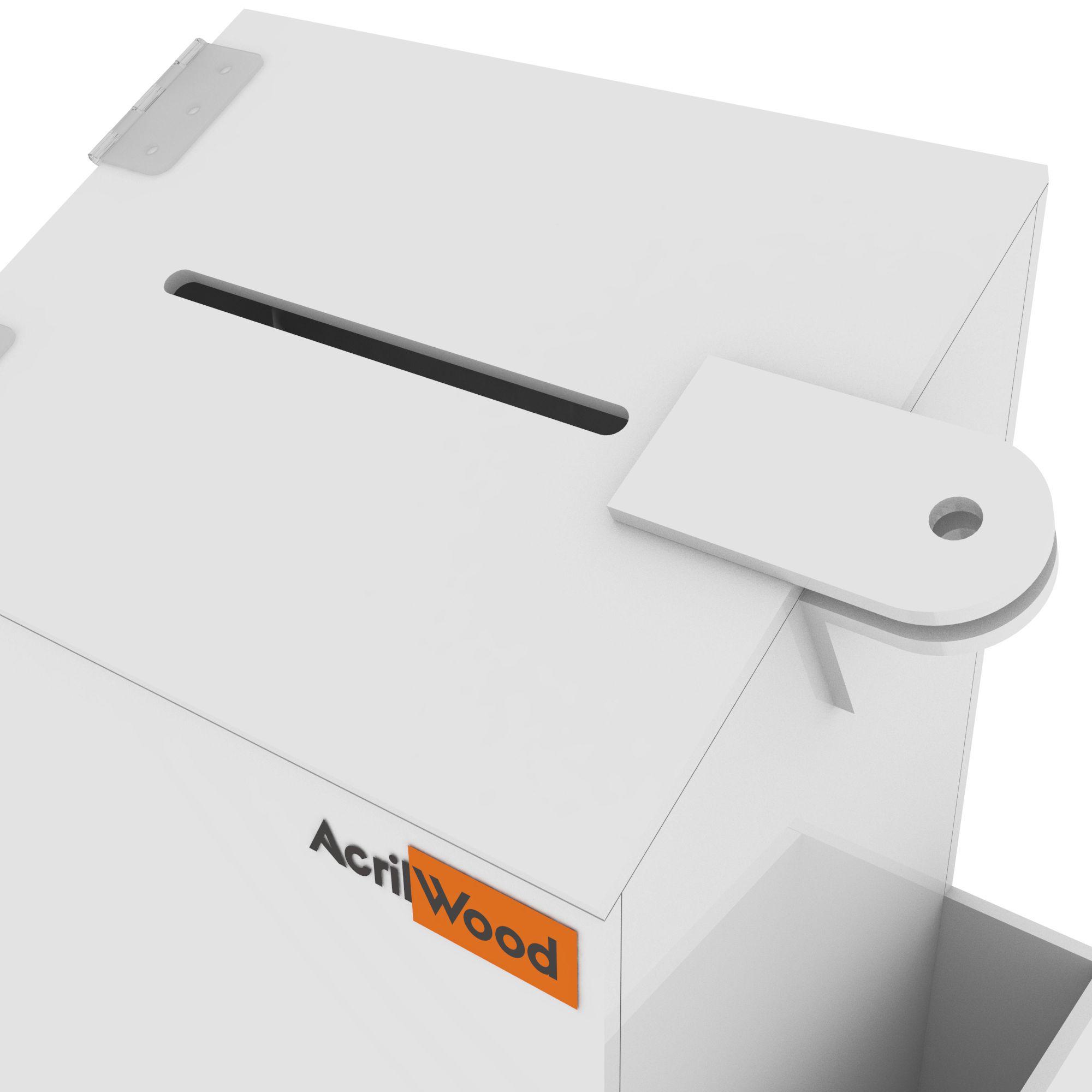 Caixa Sugestão Em Acrílico Branco Pequena - 15x10x20cm