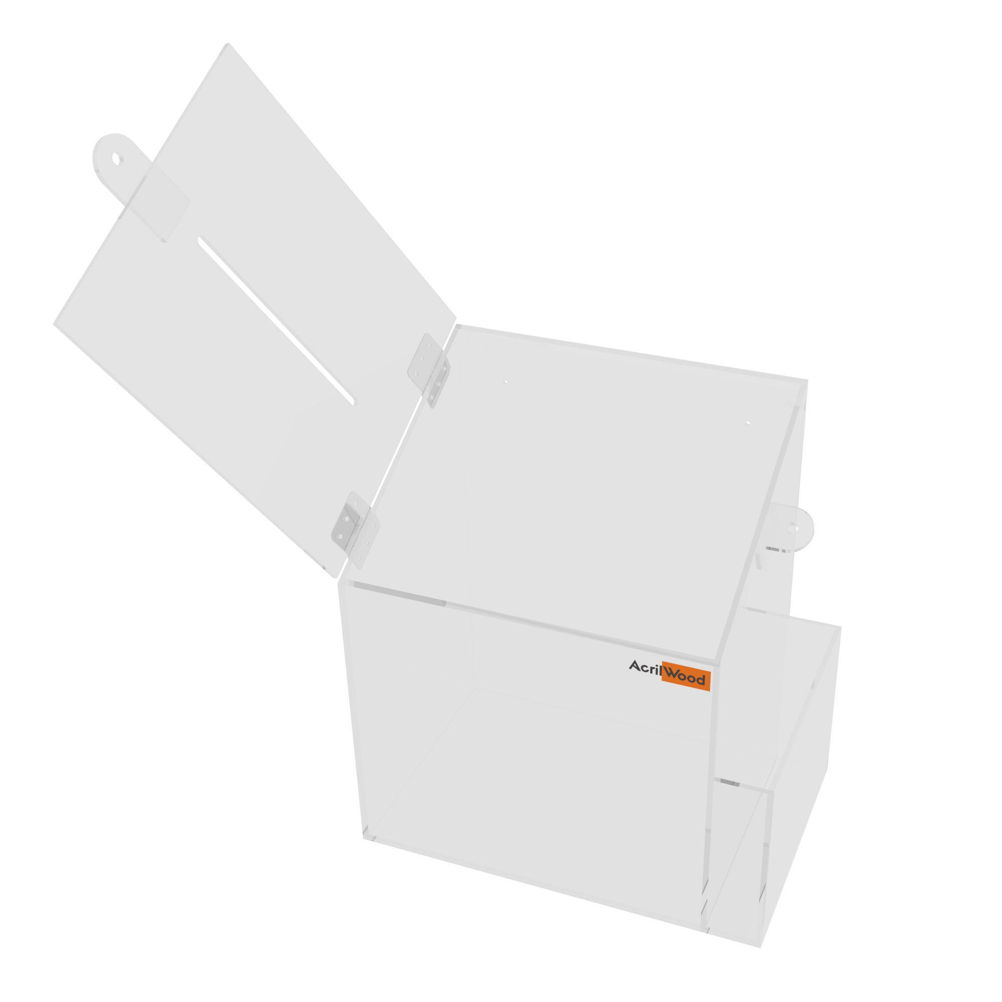 Caixa Sugestão Em Acrílico Cristal Média - 20x15x25cm
