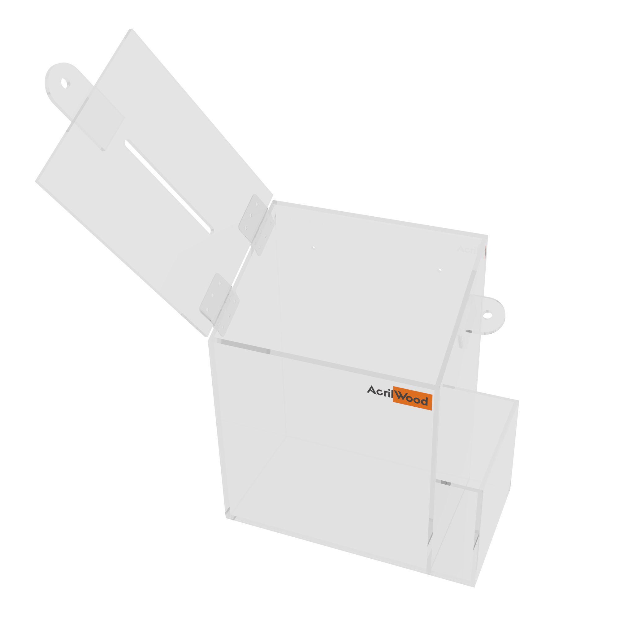 Caixa Sugestão Em Acrílico Cristal Pequena - 15x10x20cm