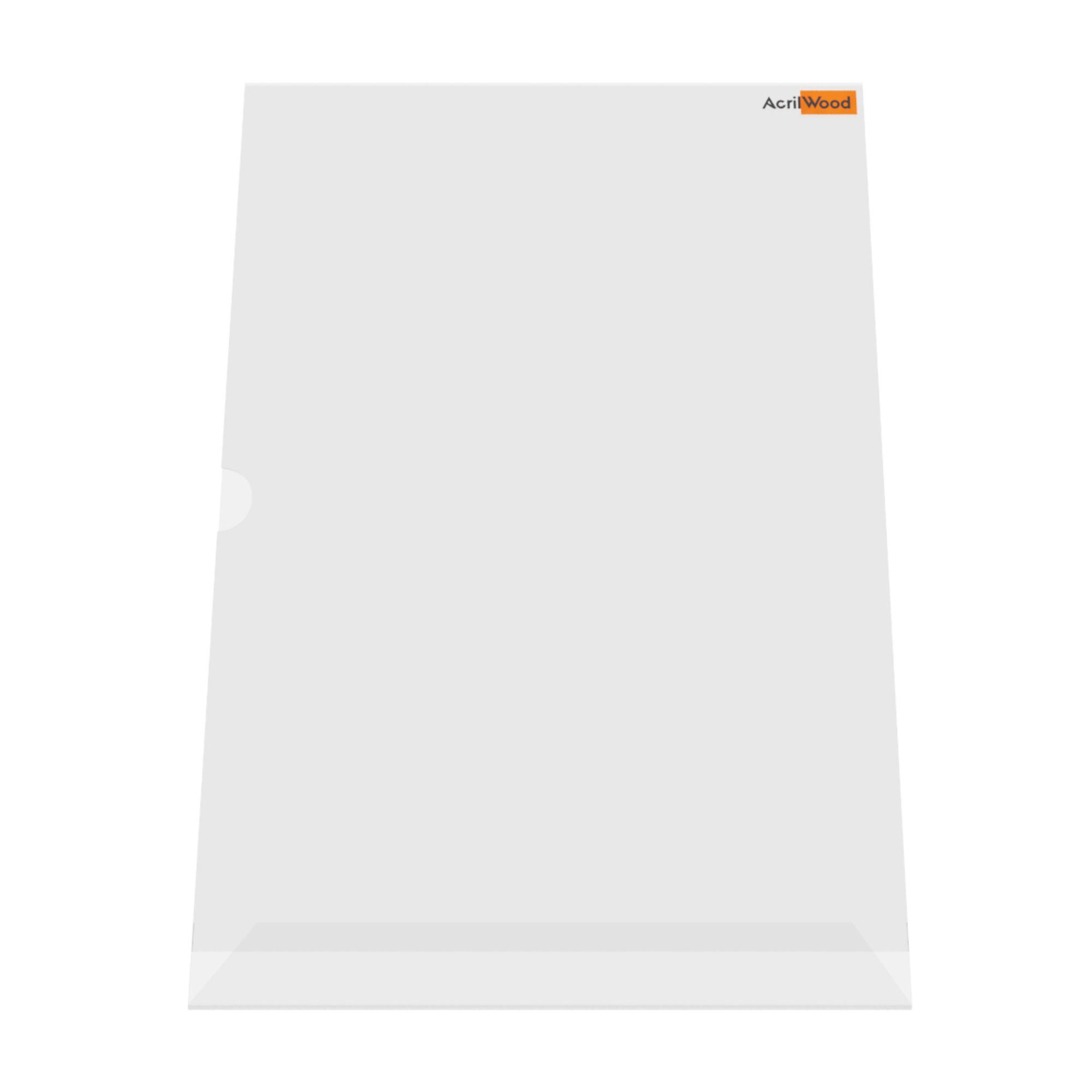 Display De Mesa Em Acrílico Formato A3 Em L Vertical
