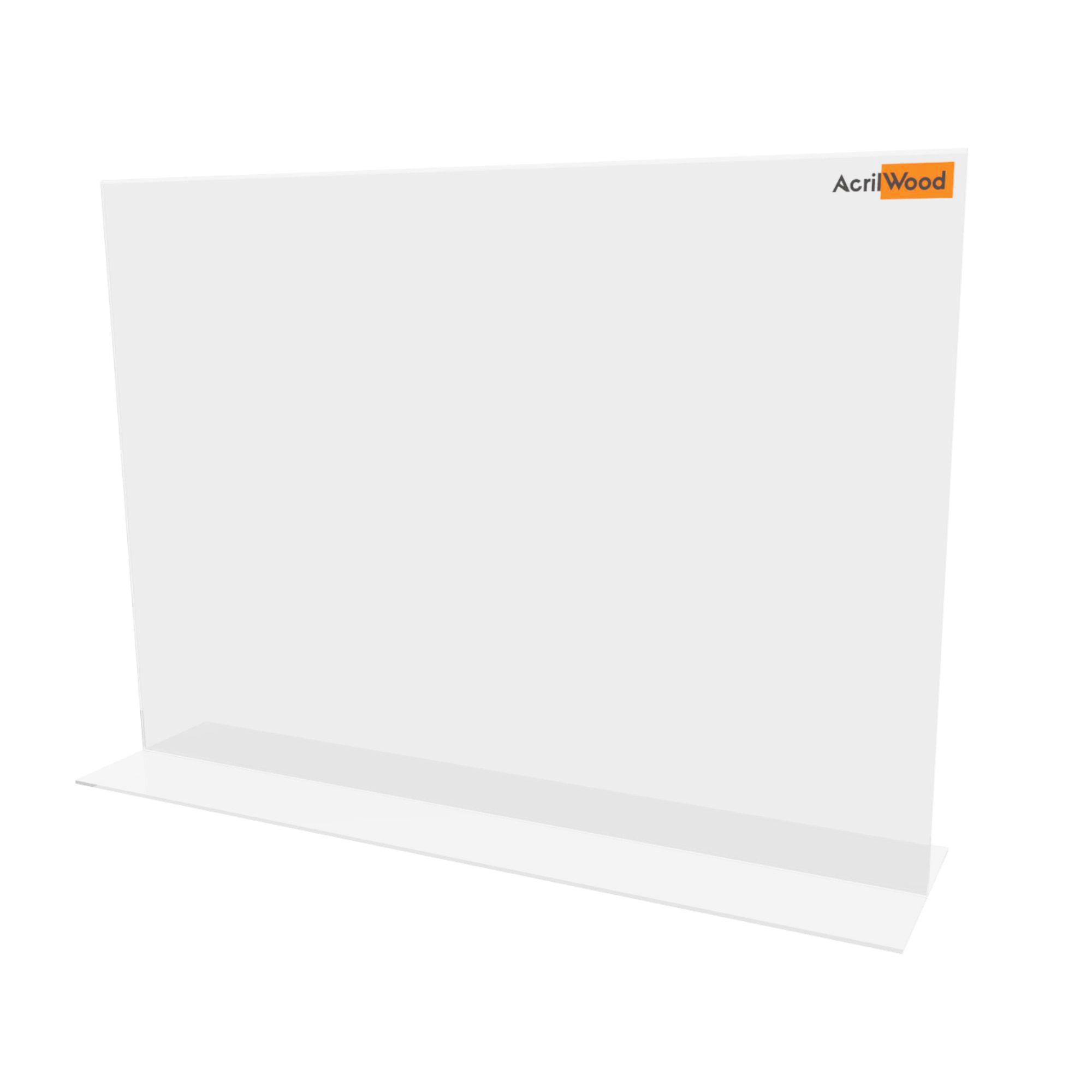 Display De Mesa Em Acrílico Formato A3 Em T Horizontal