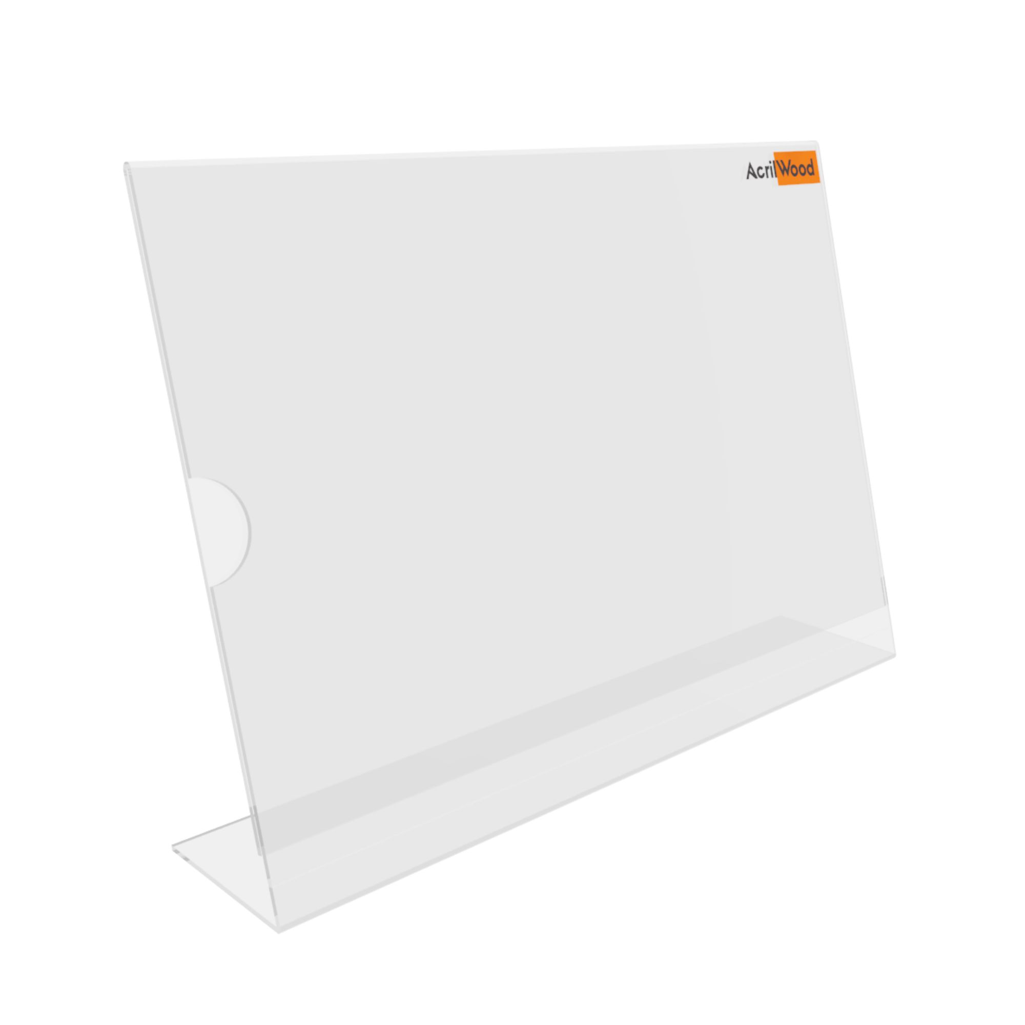 Display De Mesa Em Acrílico Formato A4 Em L Horizontal