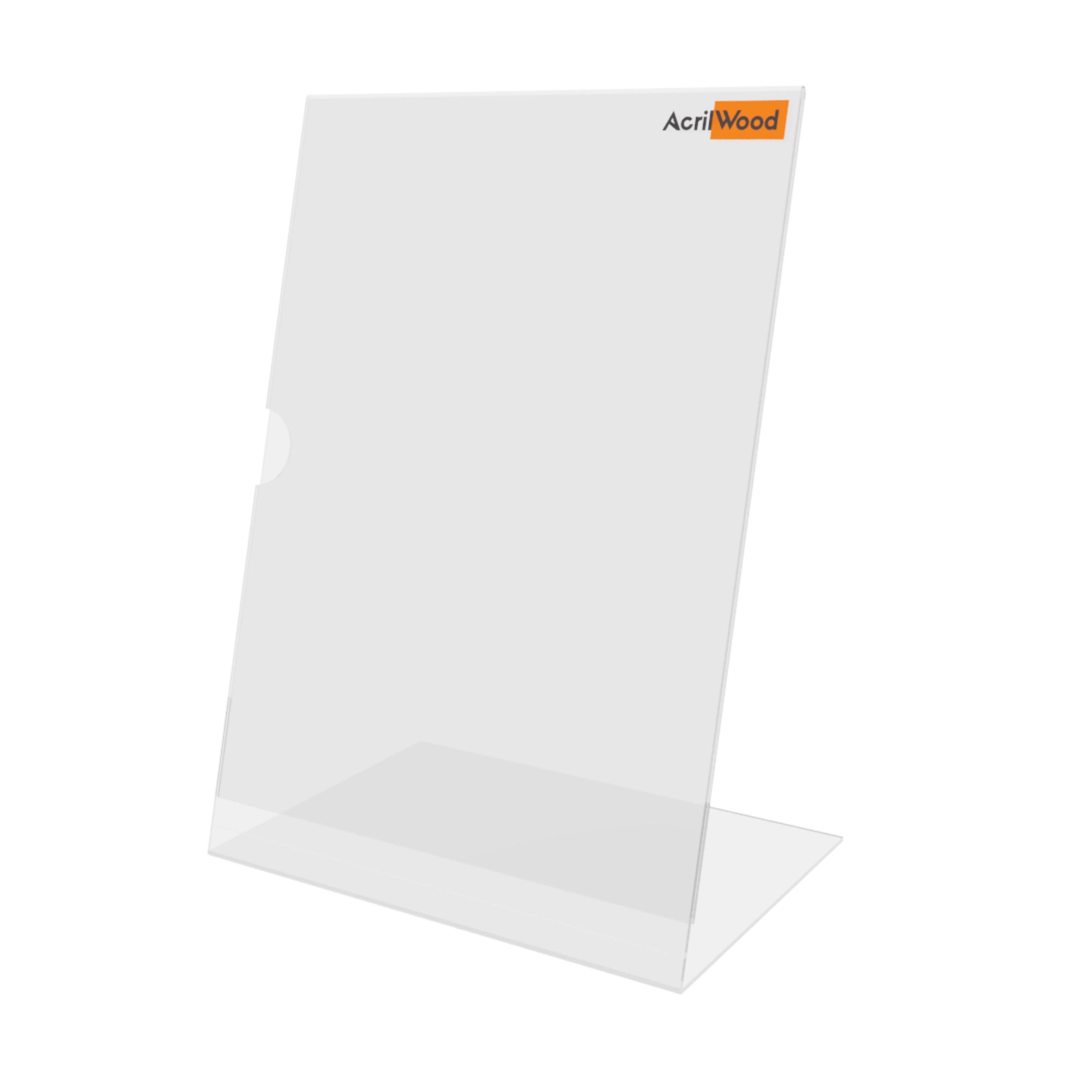 Display De Mesa Em Acrílico Formato A4 Em L Vertical