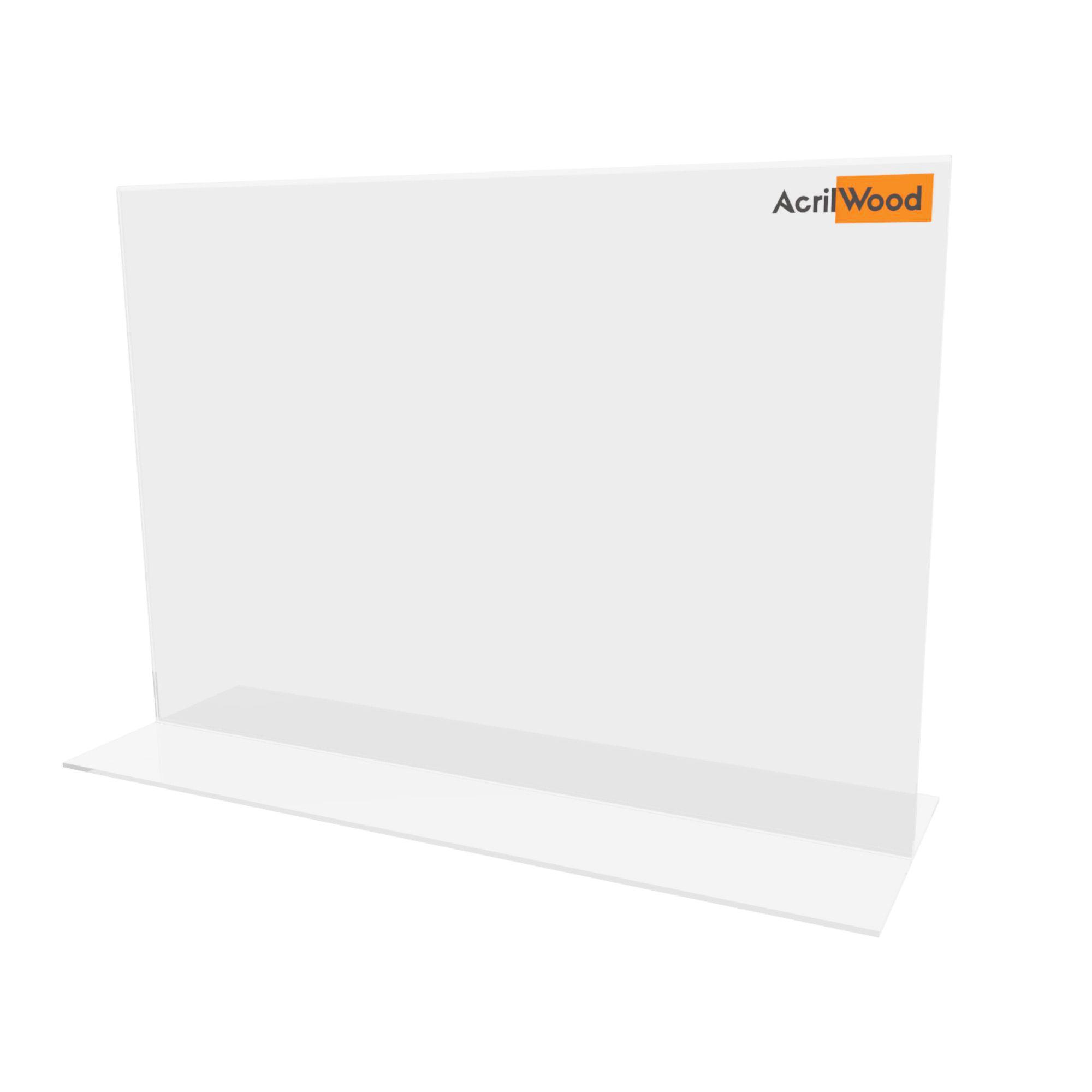 Display De Mesa Em Acrílico Formato A4 Em T Horizontal