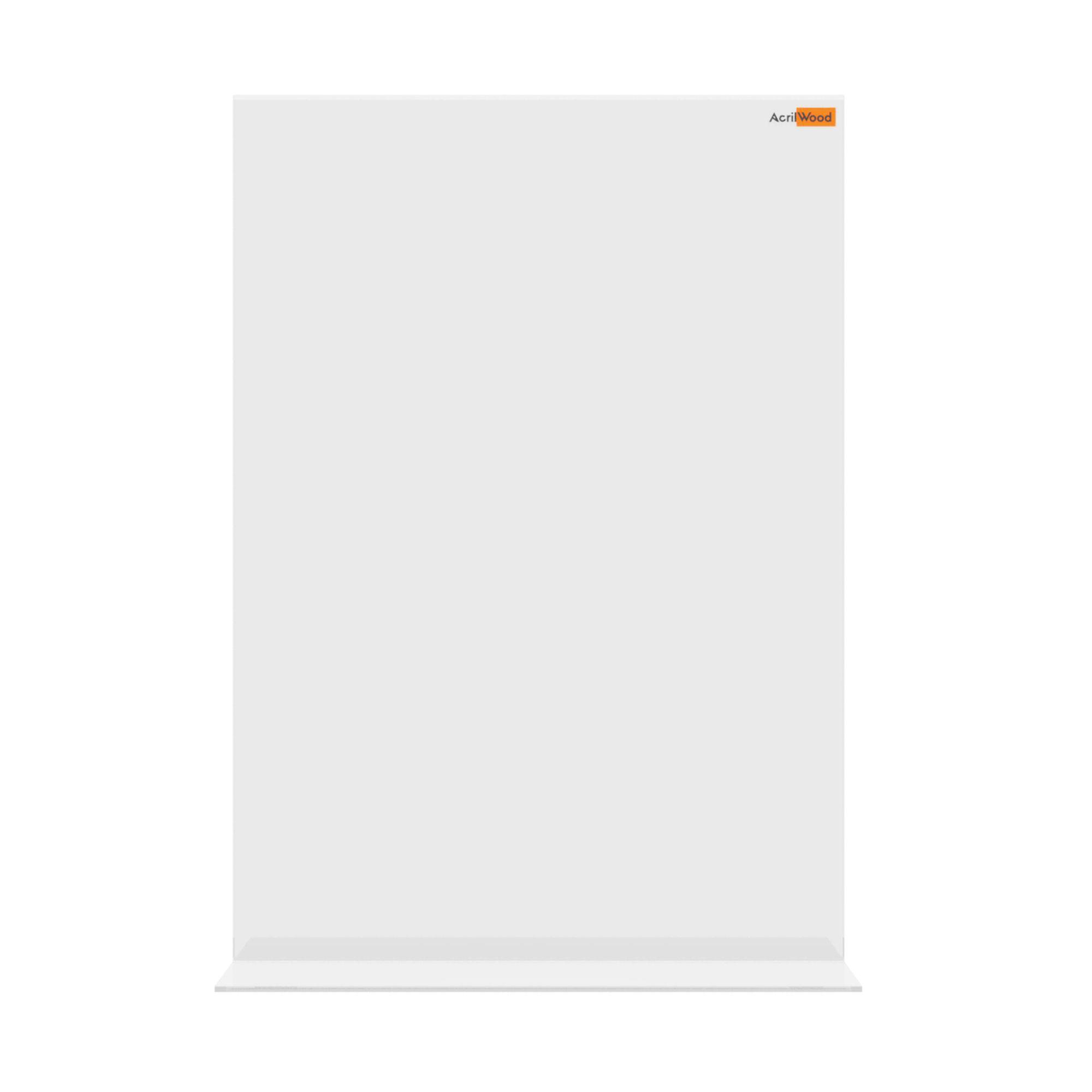 Display De Mesa Em Acrílico Formato A4 Em T Vertical