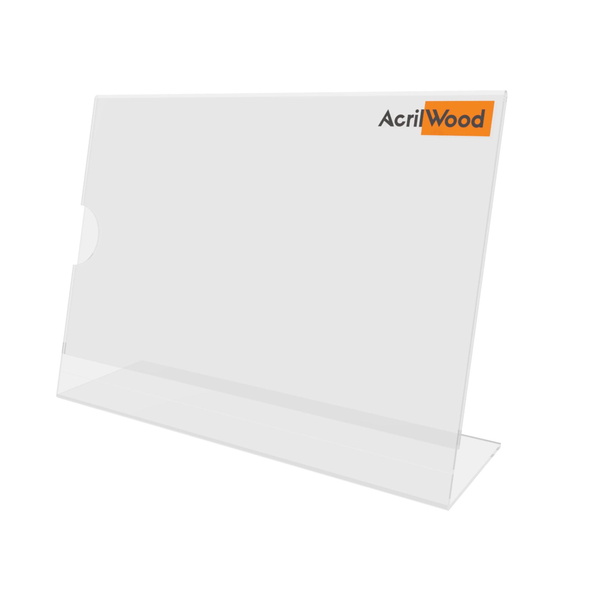 Display De Mesa Em Acrílico Formato A5 Em L Horizontal