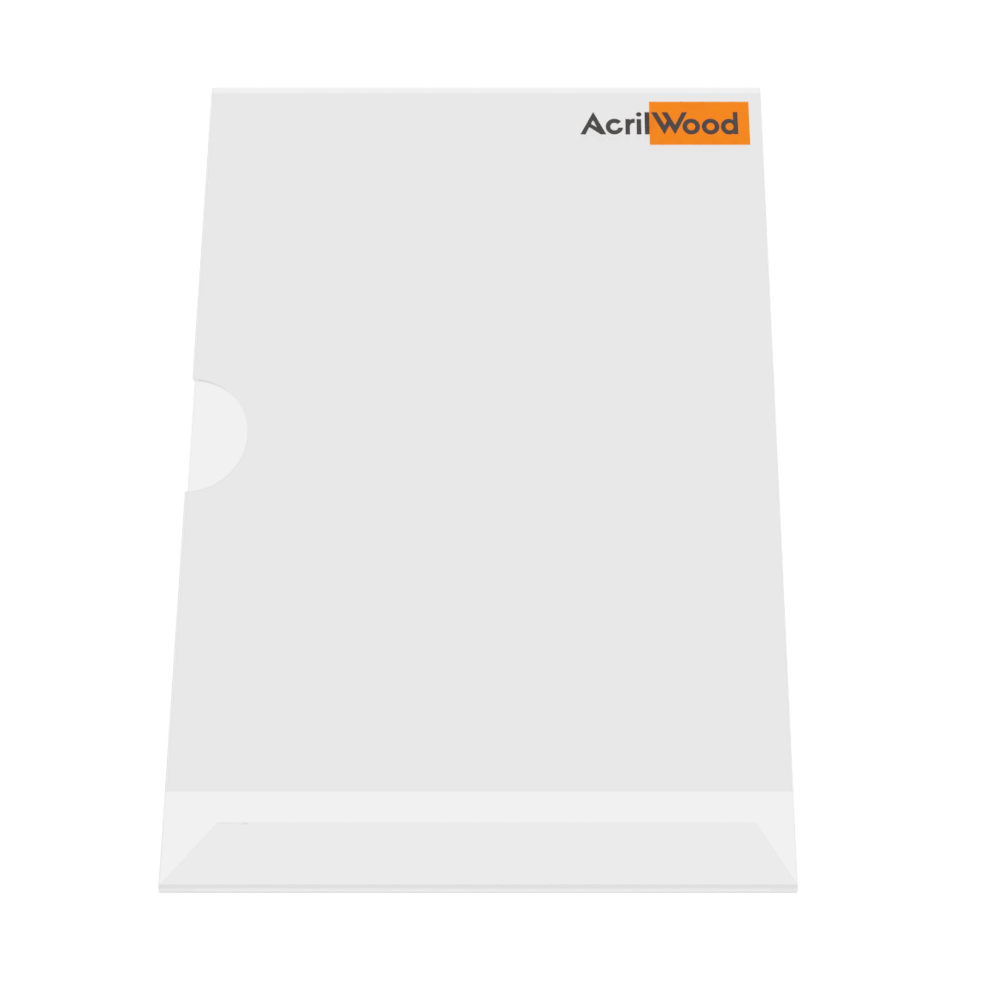 Display De Mesa Em Acrílico Formato A5 Em L Vertical