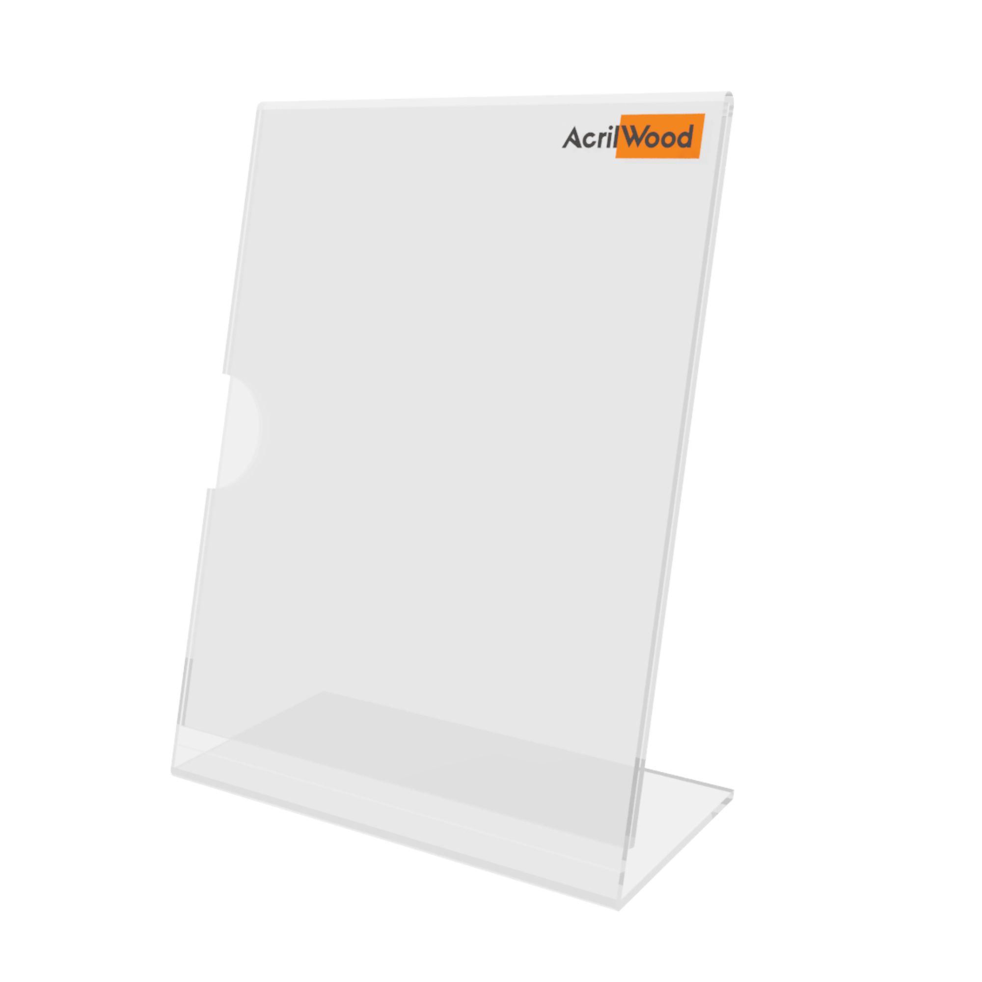 Display De Mesa Em Acrílico Formato A6 Em L Vertical
