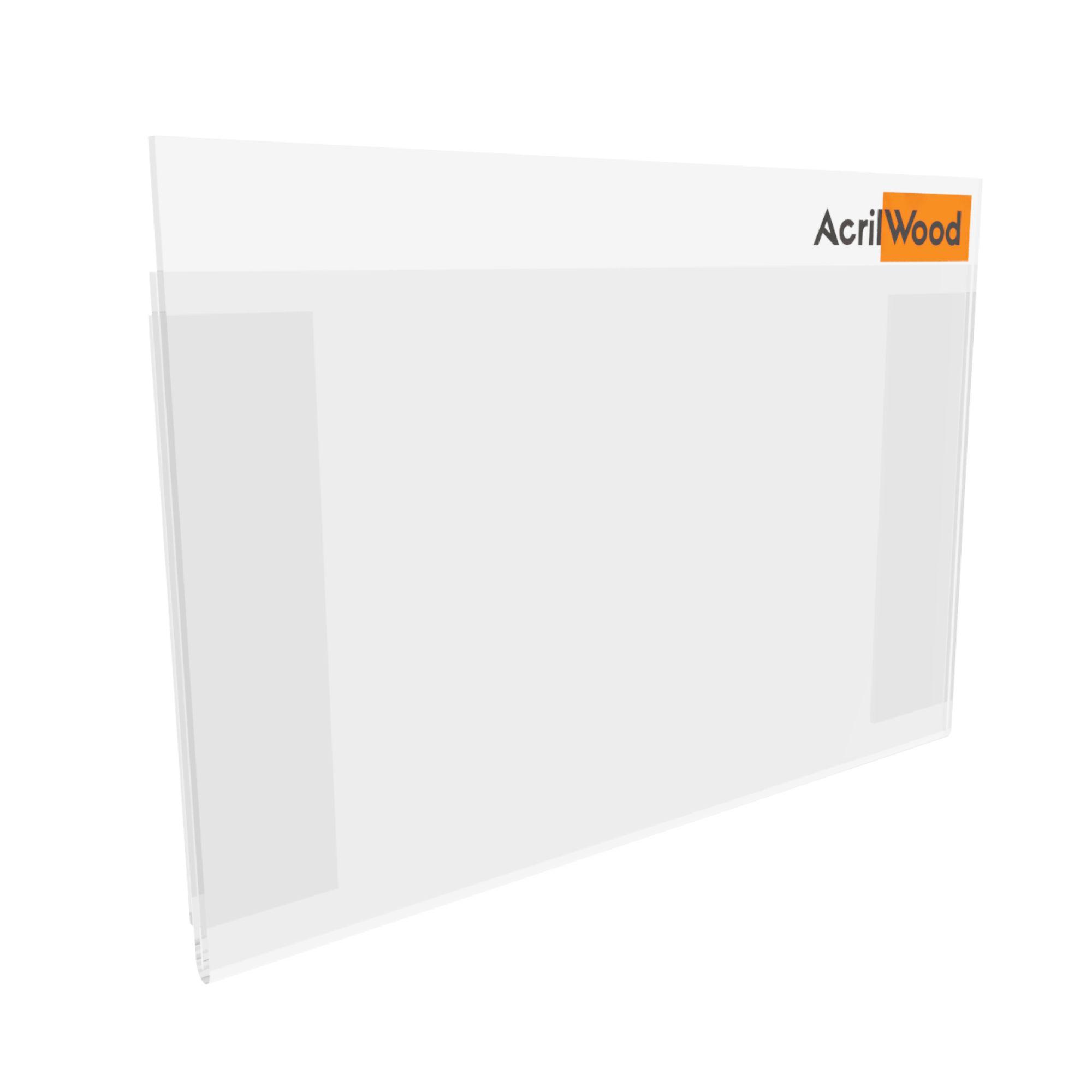 Display De Parede Em Acrílico A6 Horizontal Com Fundo