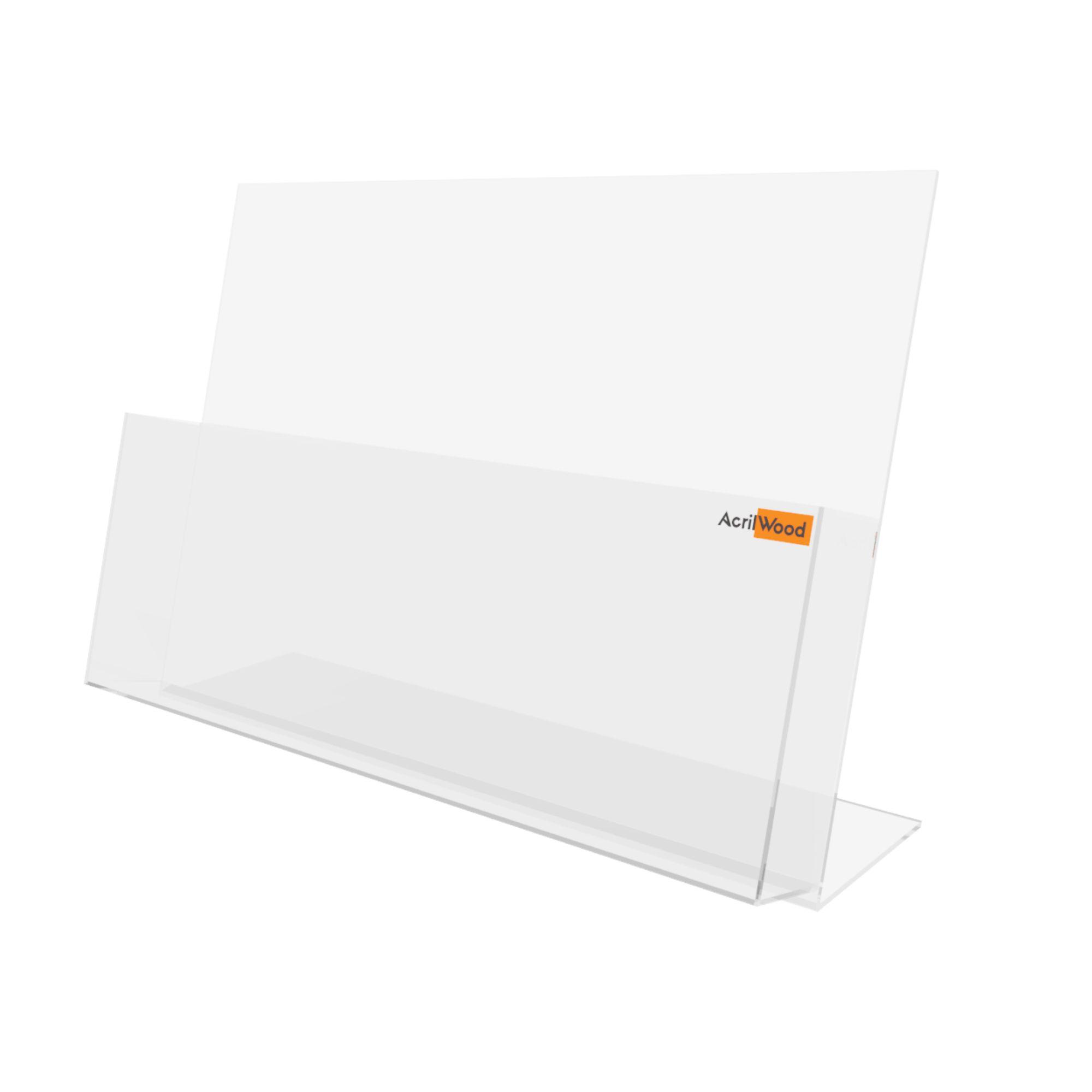 Display Porta Folder A3 Em Acrílico De Balcão Horizontal