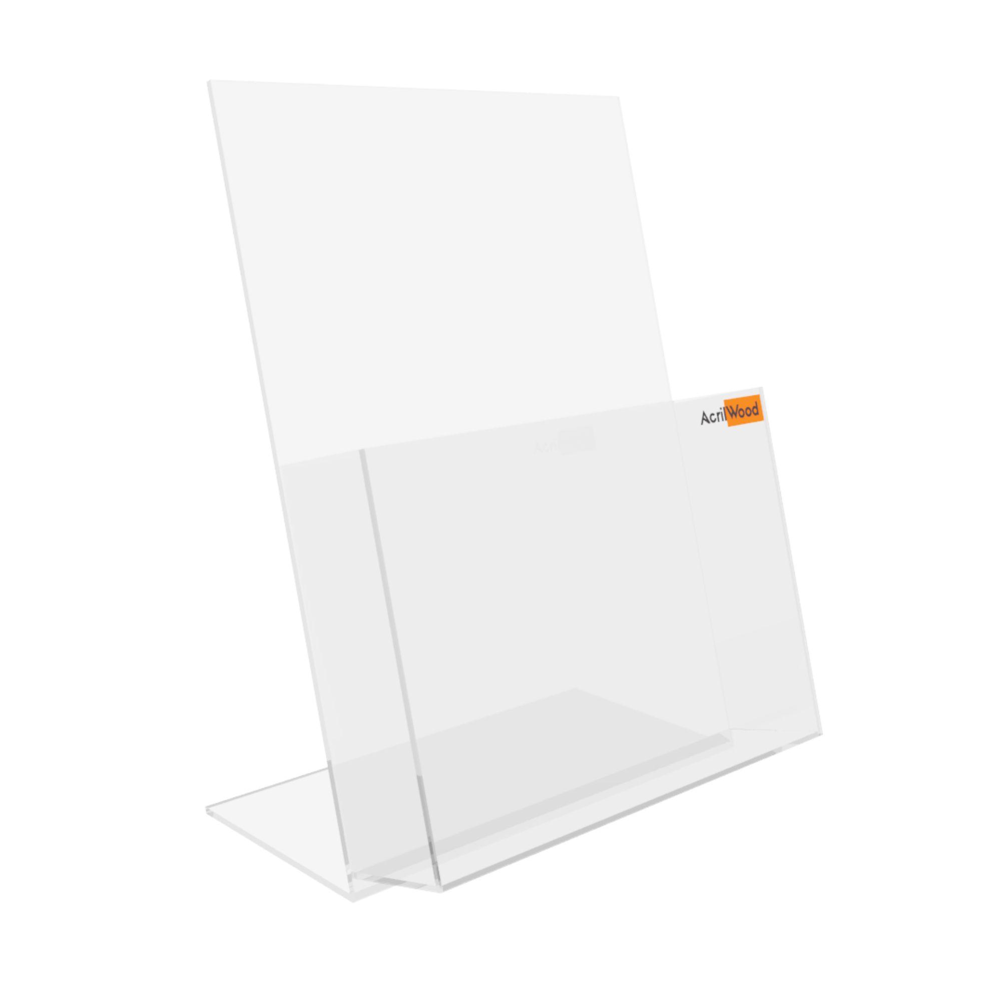Display Porta Folder A4 Em Acrílico De Balcão Vertical