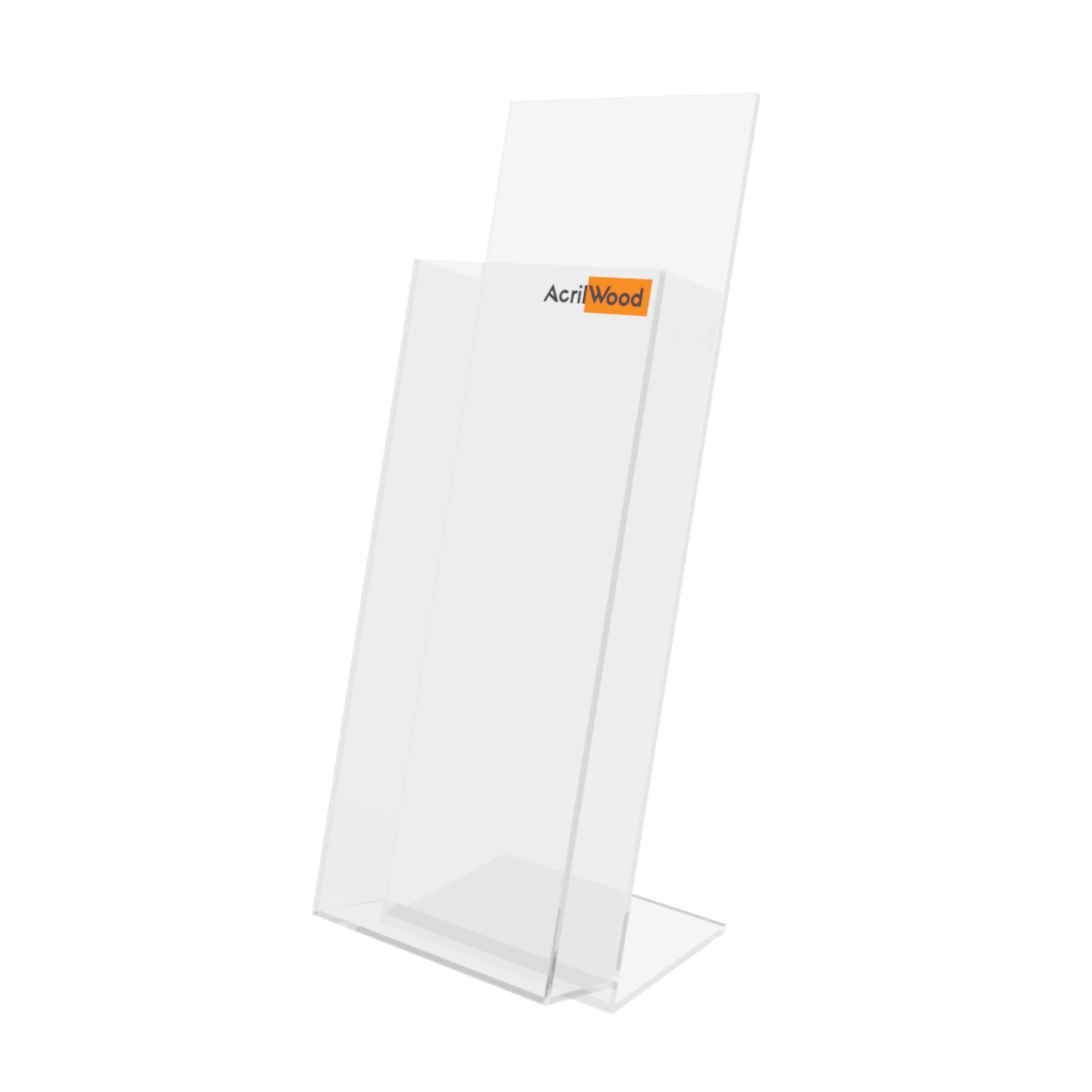 Display Porta Folder Em Acrílico De Balcão - 10x30cm