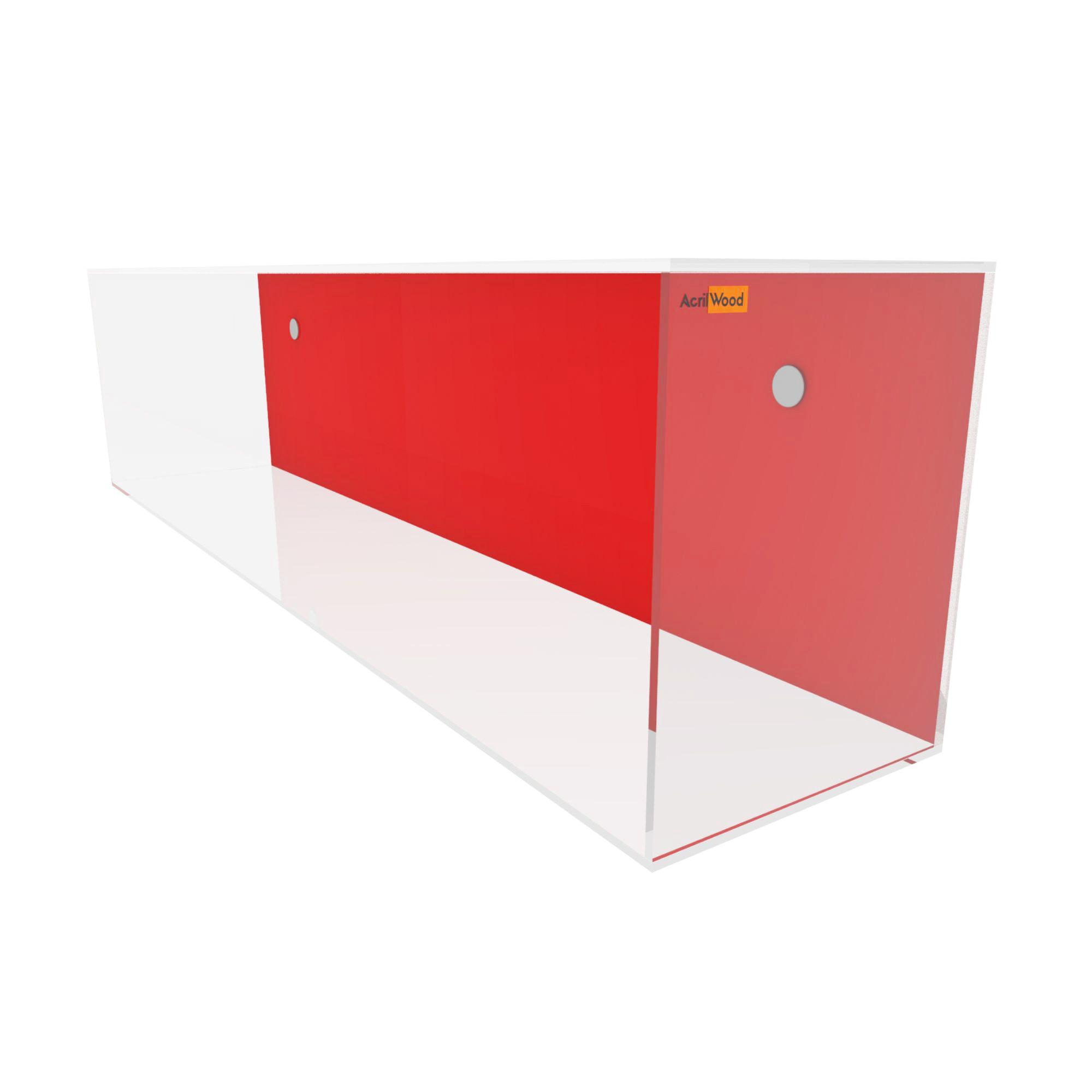 Nicho Retangular Acrílico Cristal Fundo Colorido 50x20x25cm