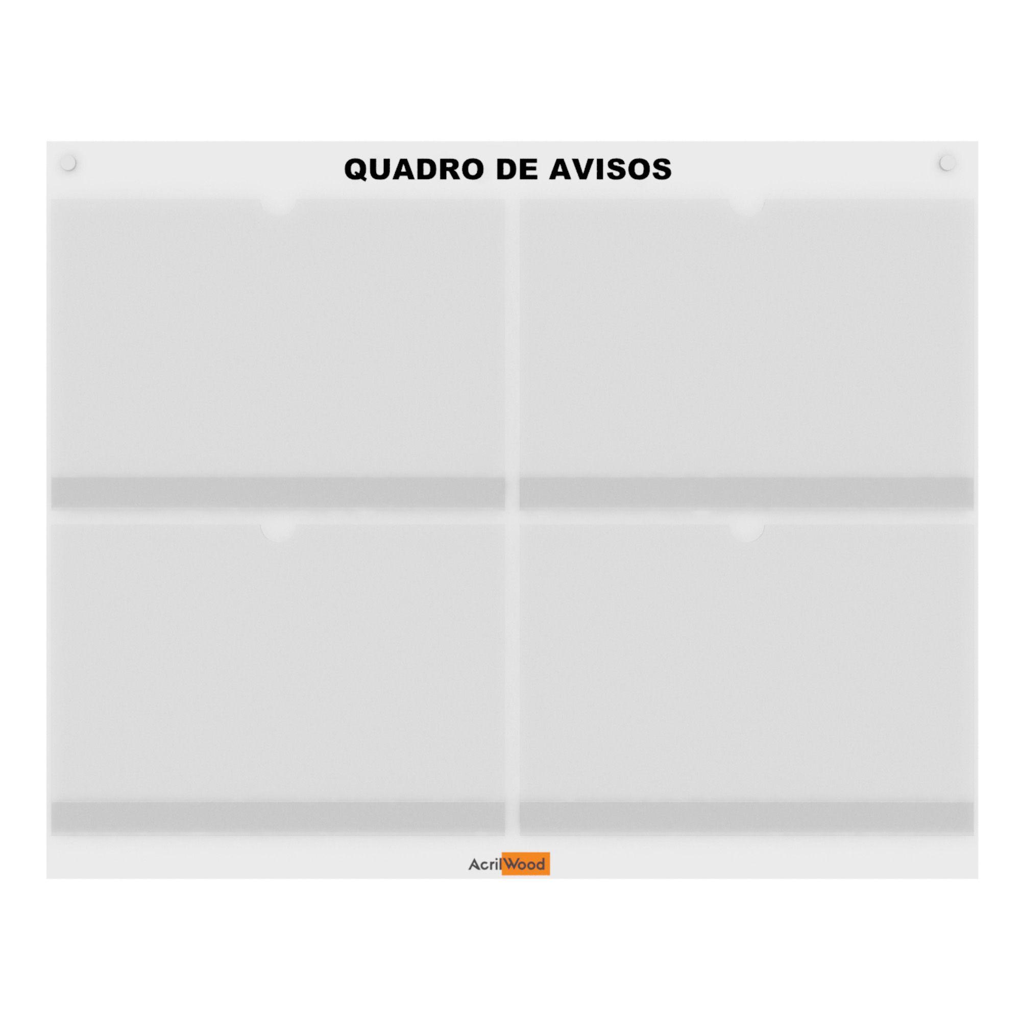 QUADRO DE AVISOS DE PAREDE PARA 04 FOLHAS A4 HORIZONTAL