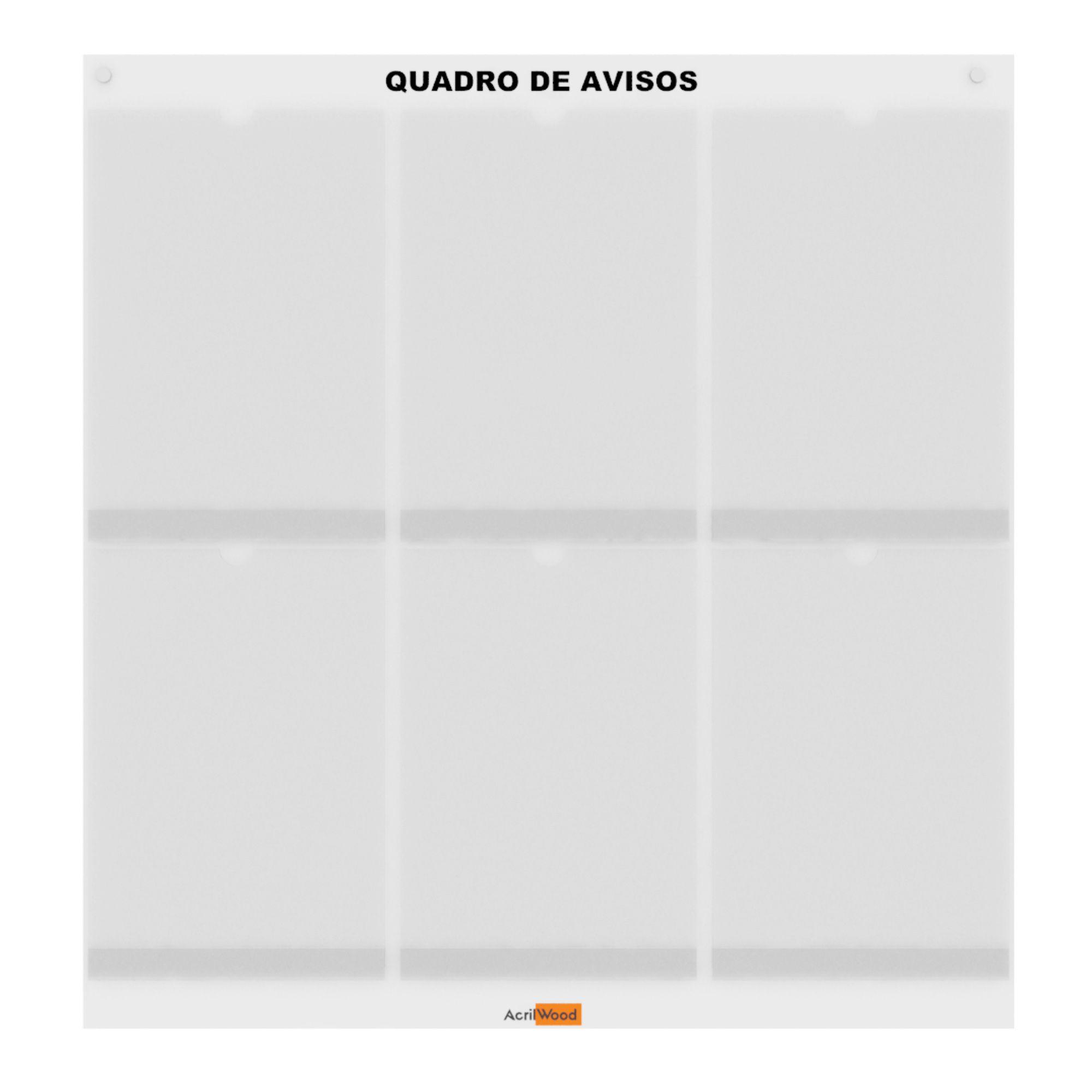 QUADRO DE AVISOS DE PAREDE PARA 06 FOLHAS A4 VERTICAL