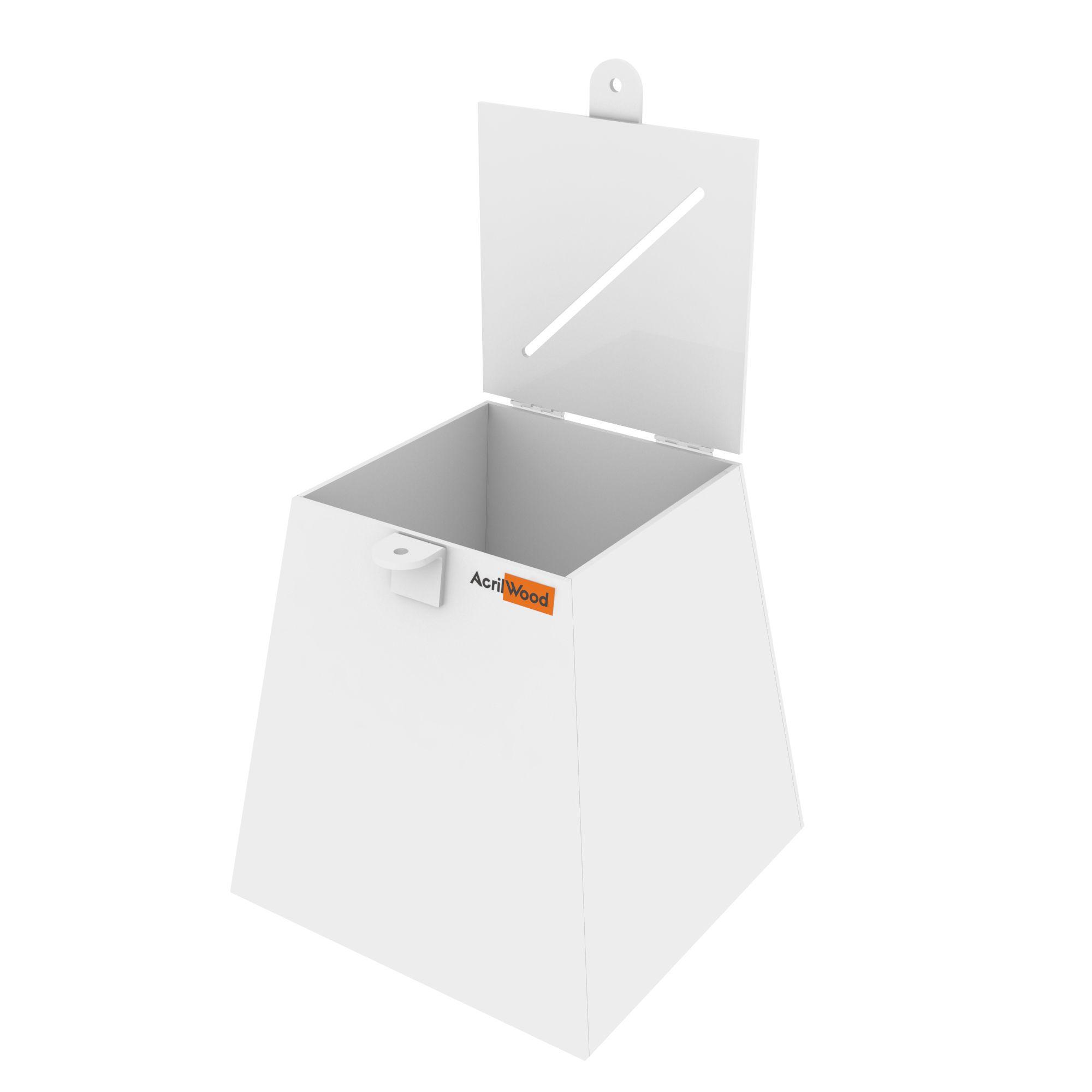 Urna Pirâmide Em Acrílico Branco - 20x20x20cm