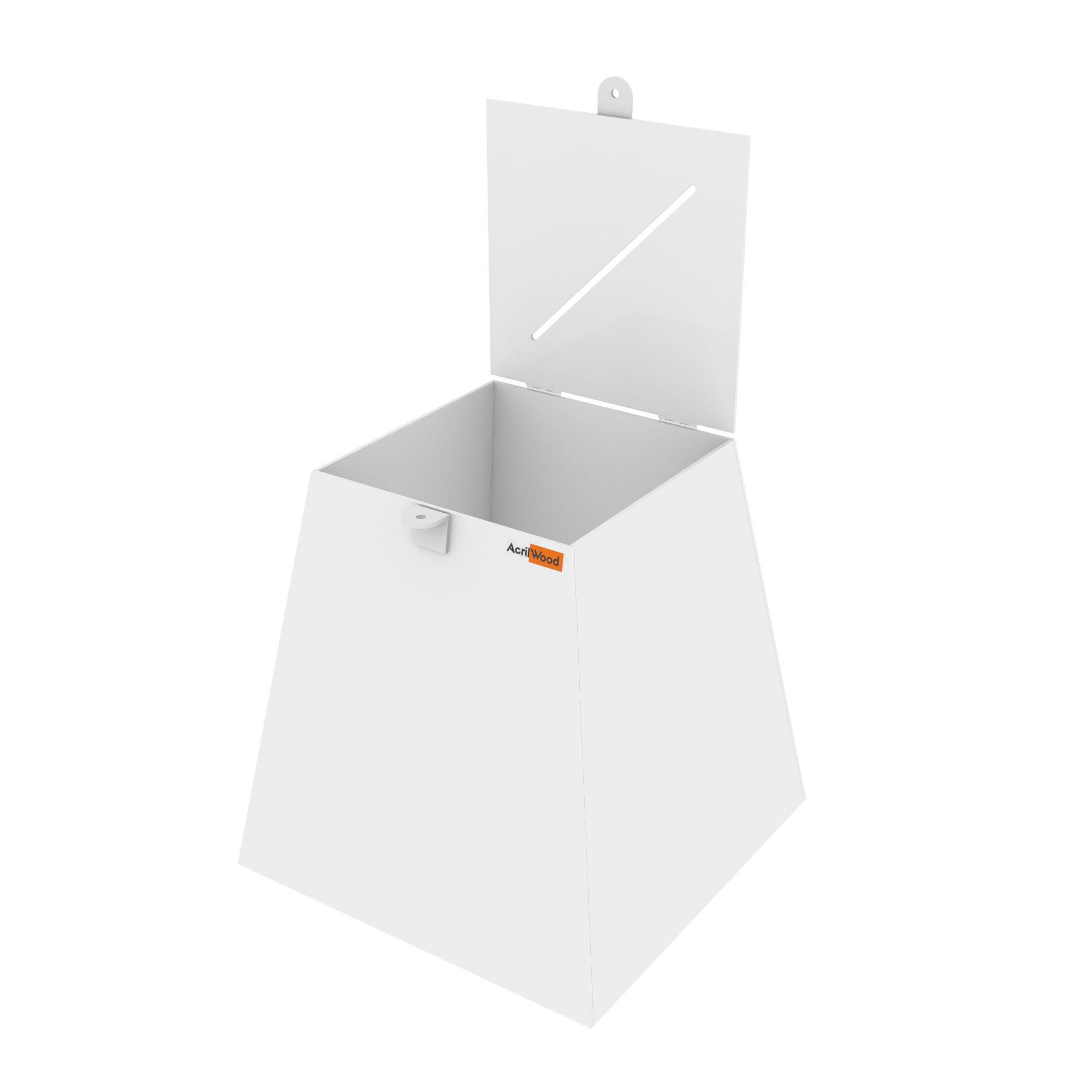 Urna Pirâmide Em Acrílico Branco - 30x30x30cm
