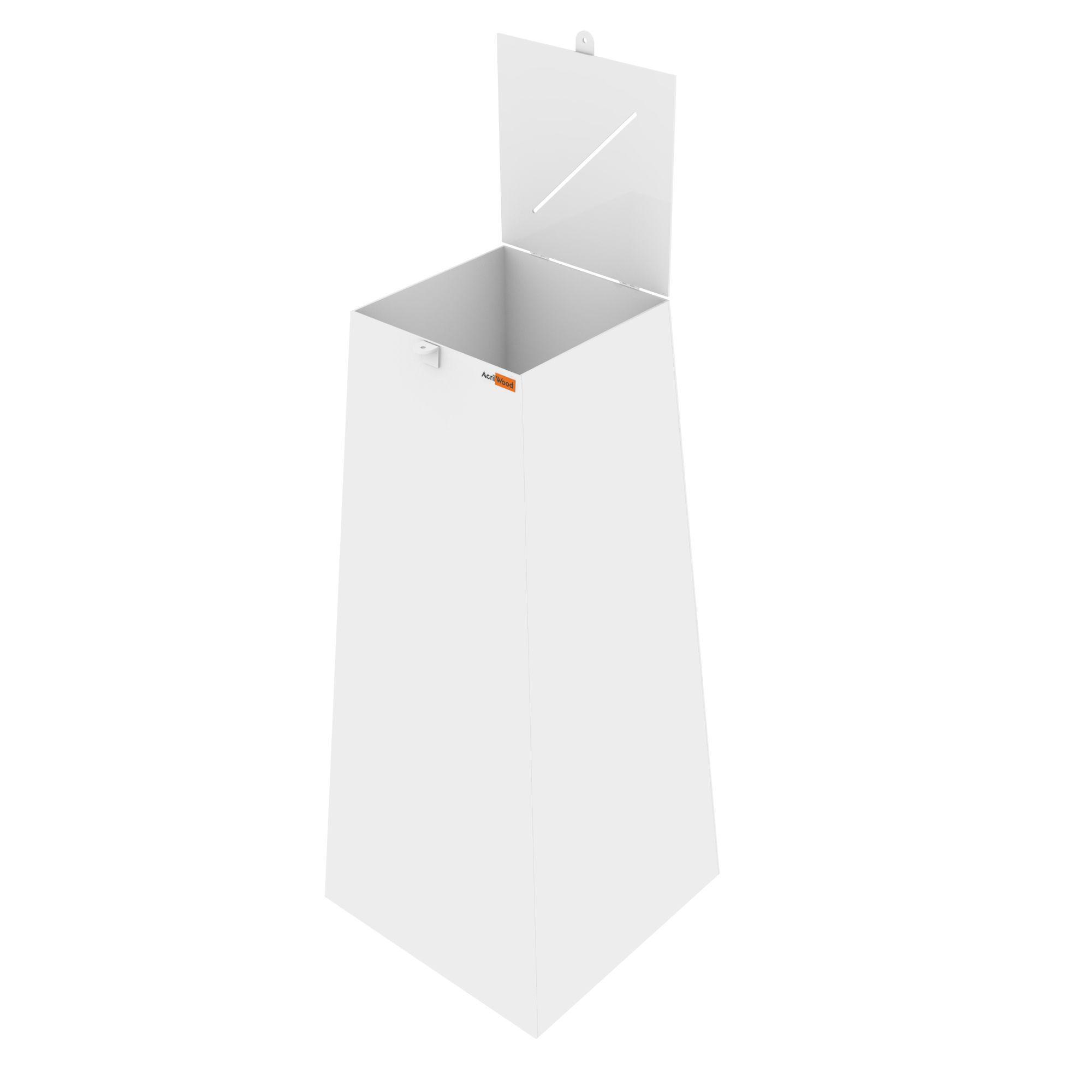 Urna Pirâmide Em Acrílico Branco - 40x40x90cm