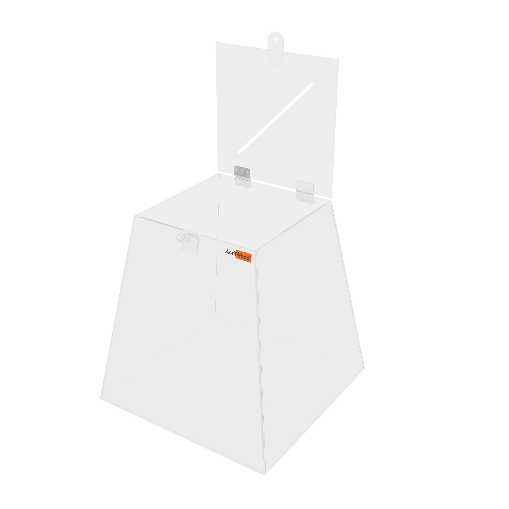 Urna Pirâmide Em Acrílico Cristal - 30x30x30cm