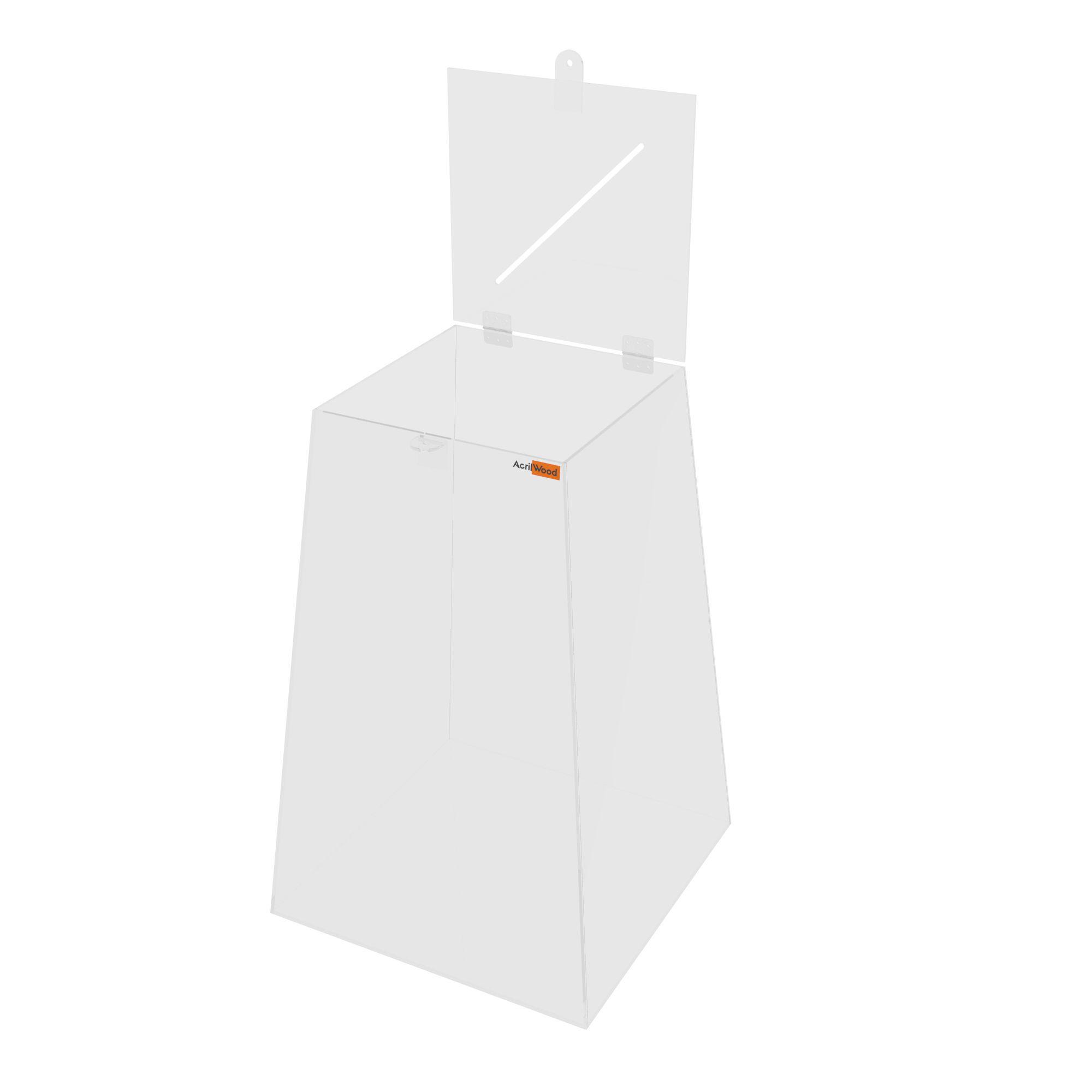 Urna Pirâmide Em Acrílico Cristal - 33x33x50cm
