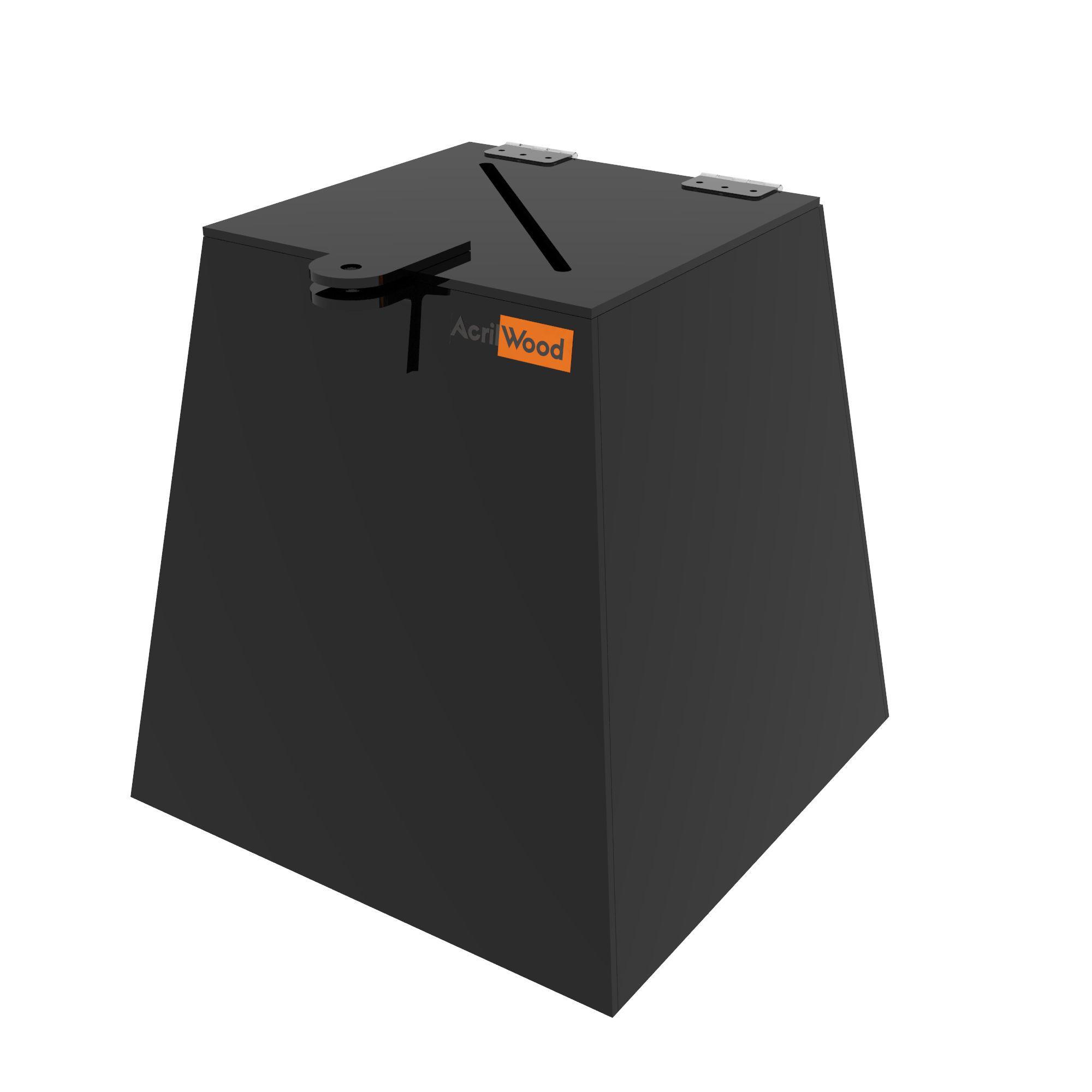 Urna Pirâmide Em Acrílico Preto - 20x20x20cm
