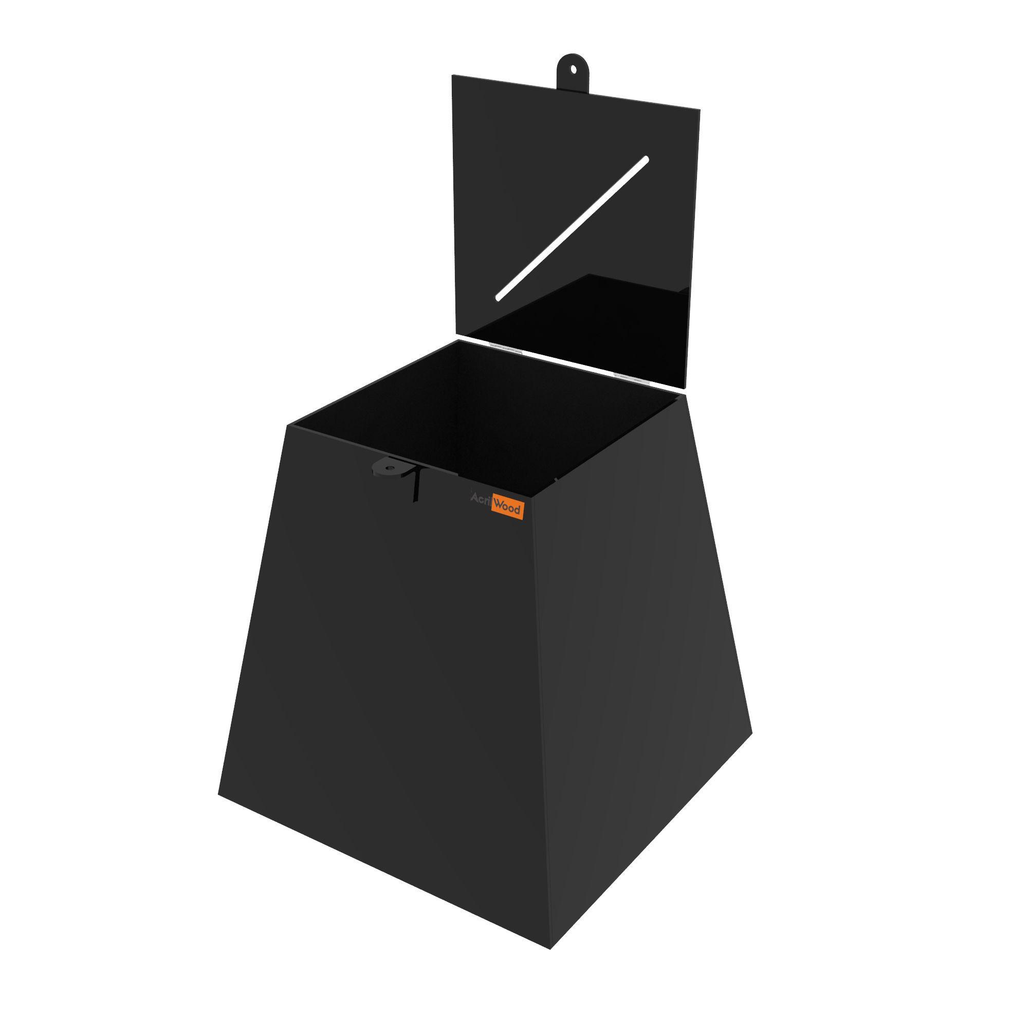 Urna Pirâmide Em Acrílico Preto - 30x30x30cm