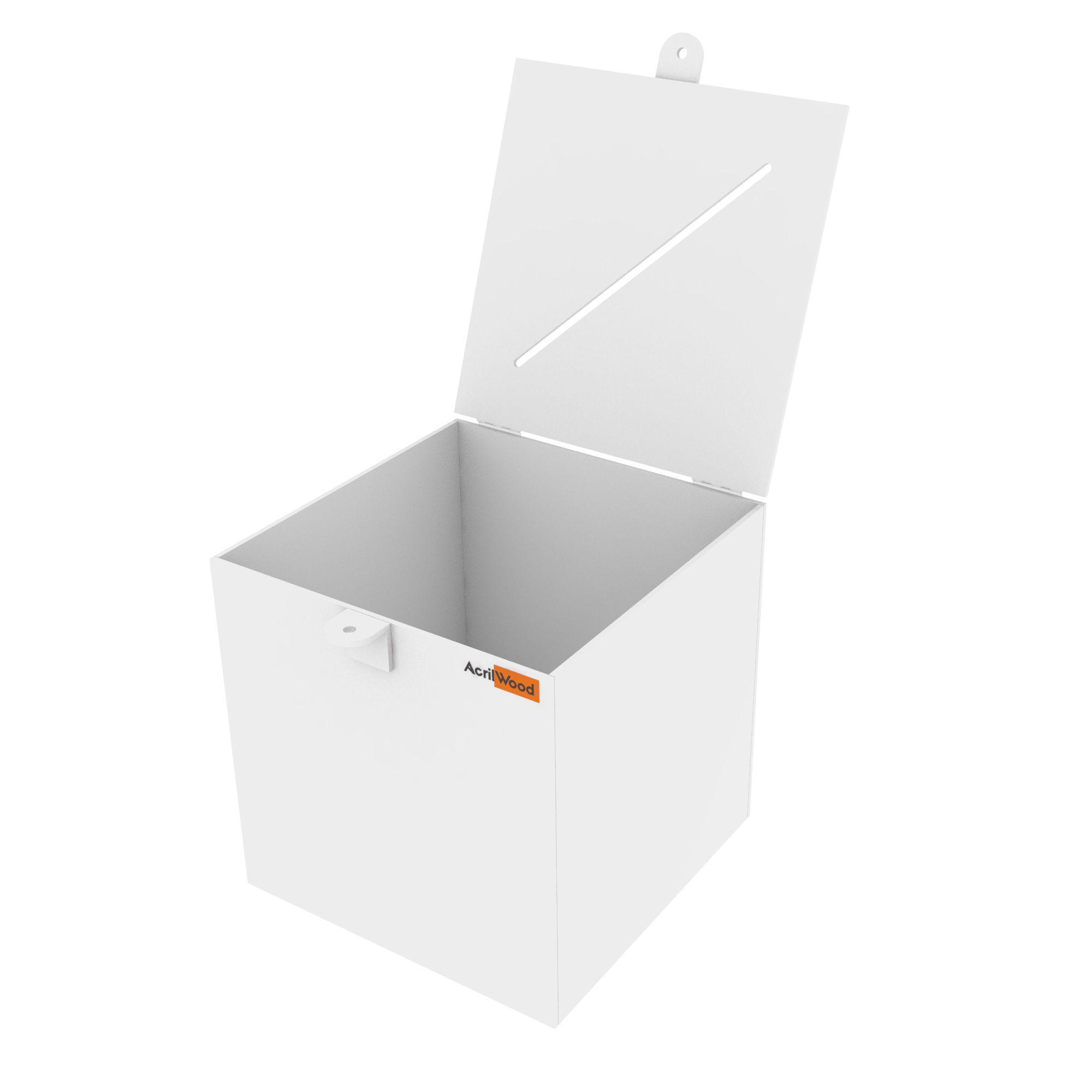 Urna Quadrada Em Acrílico Branco - 20x20x20cm