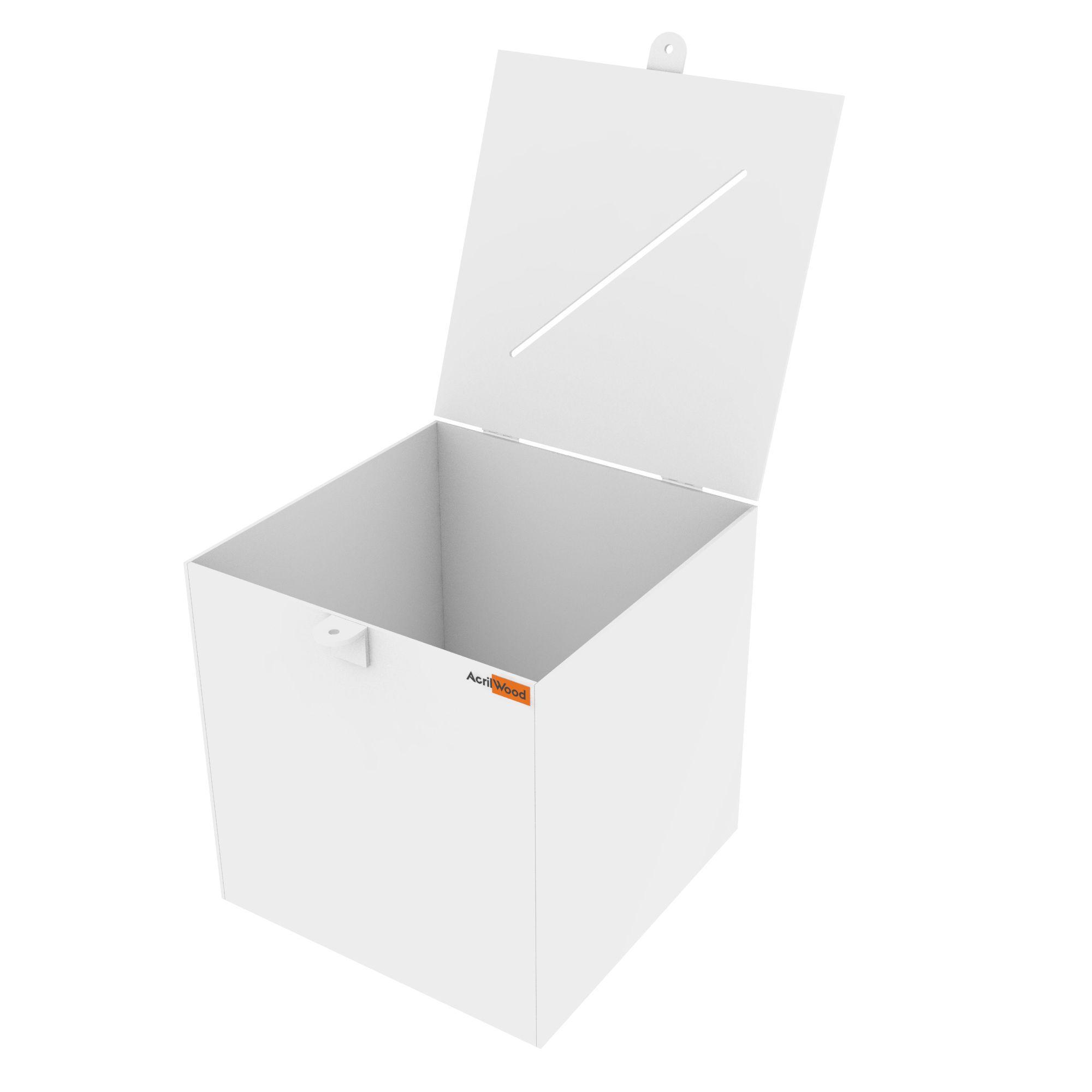 Urna Quadrada Em Acrílico Branco - 25x25x25cm